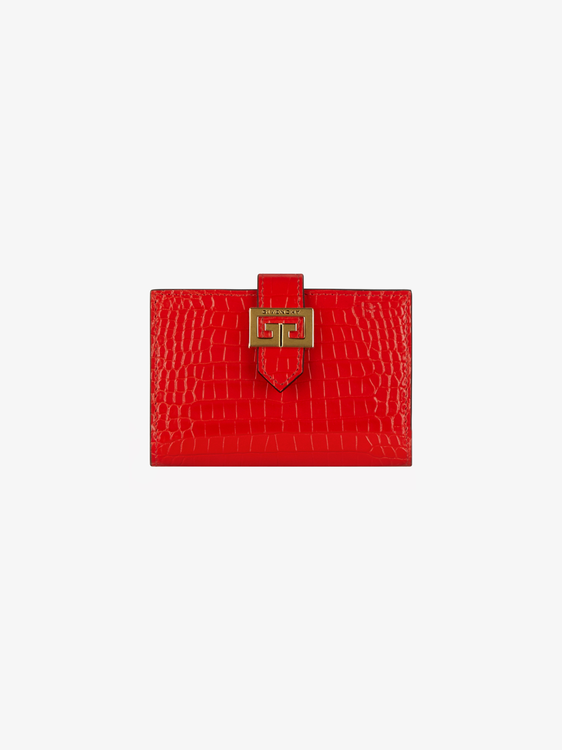 GV3 card holder in crocodile effect leather