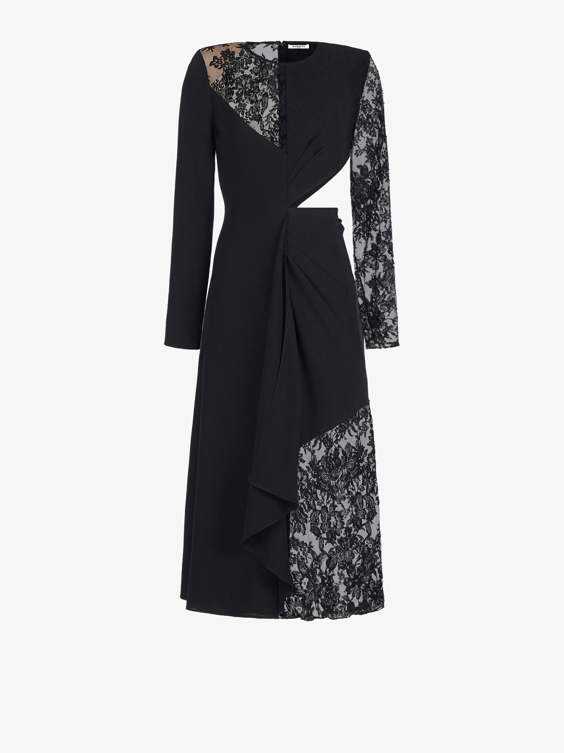 Asymmetrical midi dress in crepe with chantilly lace details