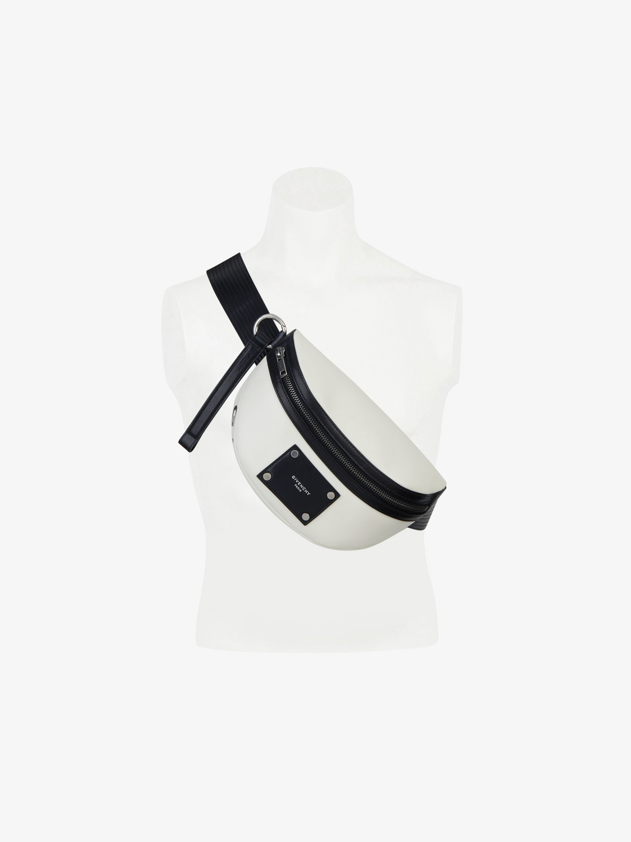 Givenchy tag two-tone bum bag in smooth leather
