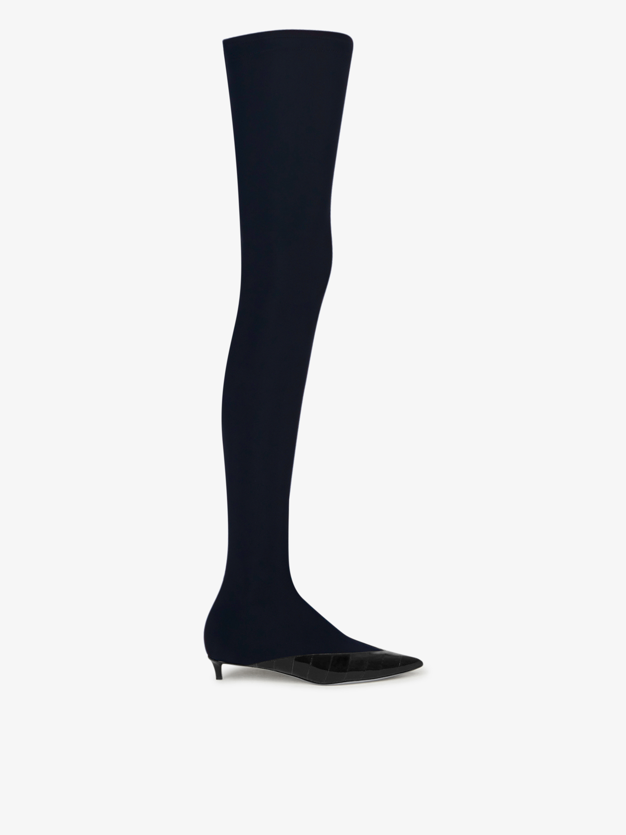 over-the-knee boots in eel skin and lycra