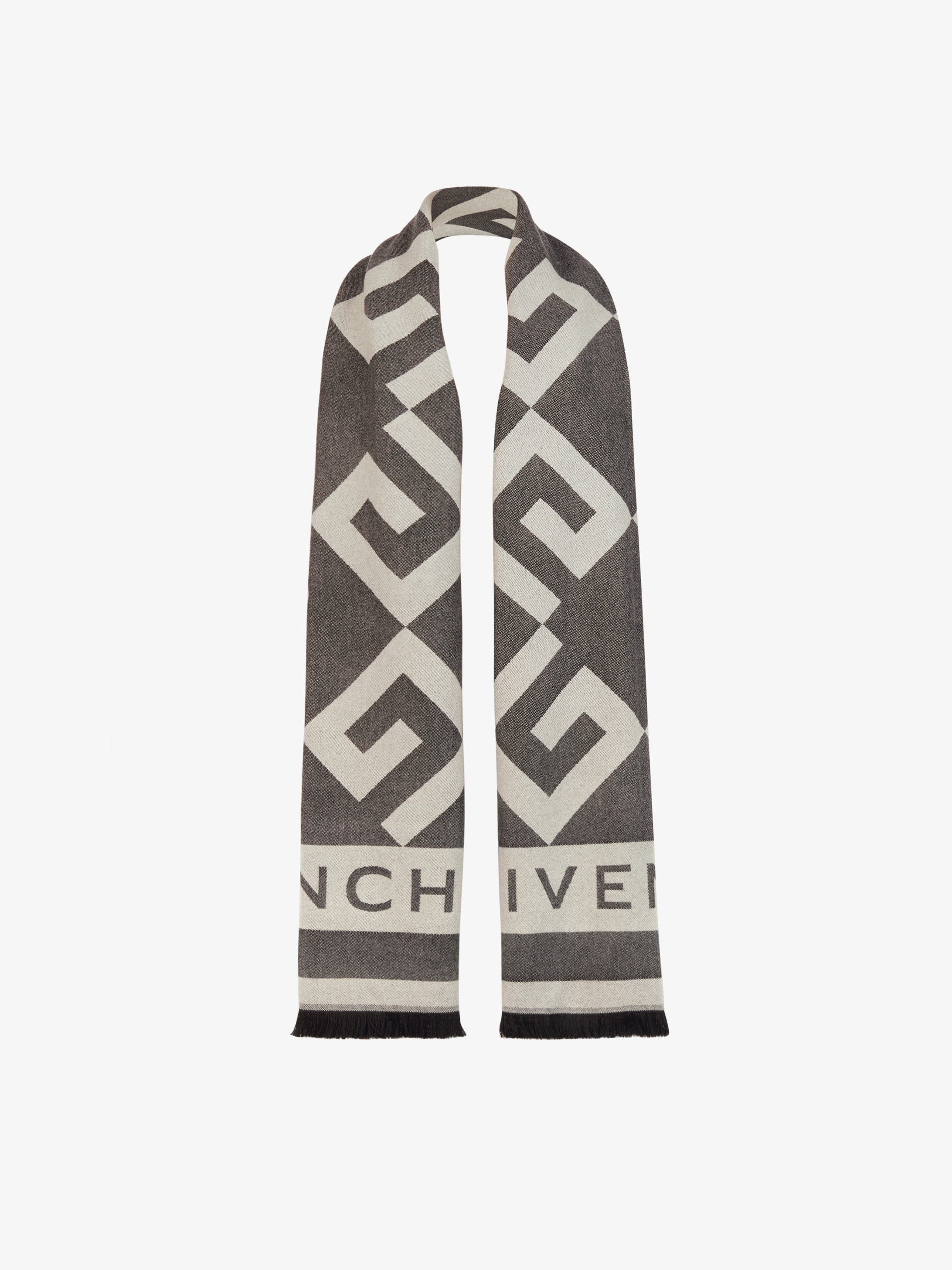 G monogram stole in wool and cashmere