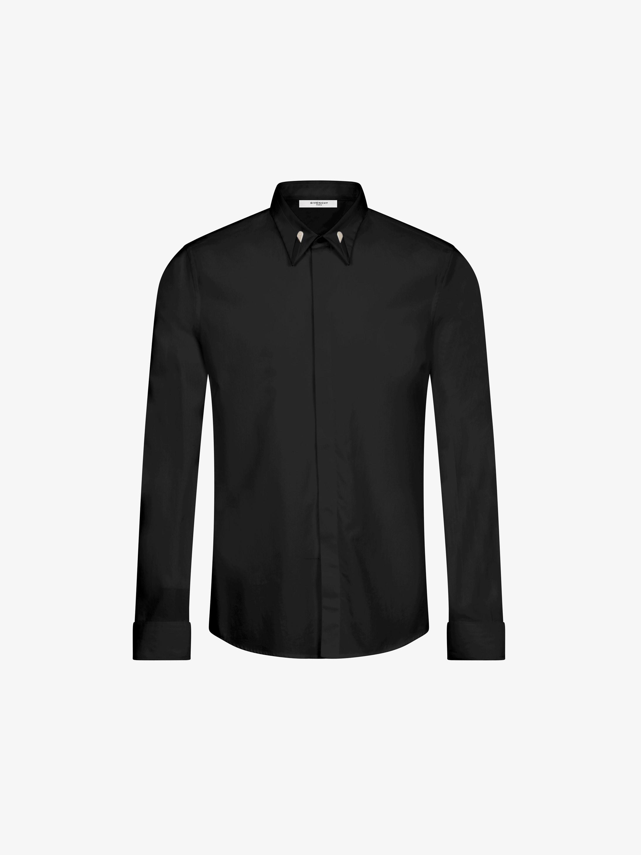 金属硬衬衣领修身衬衫