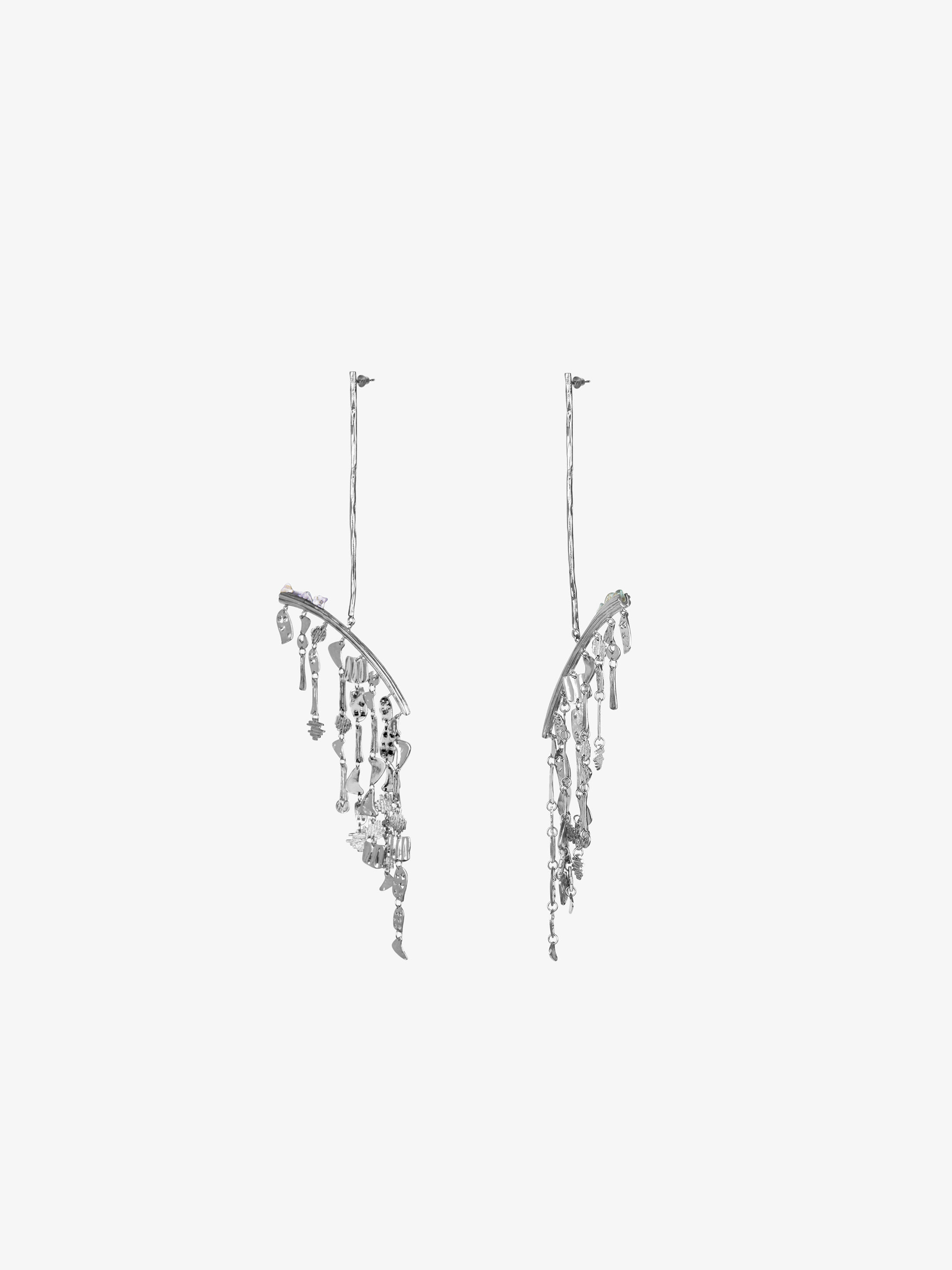 Pendant earrings in smoked quartz