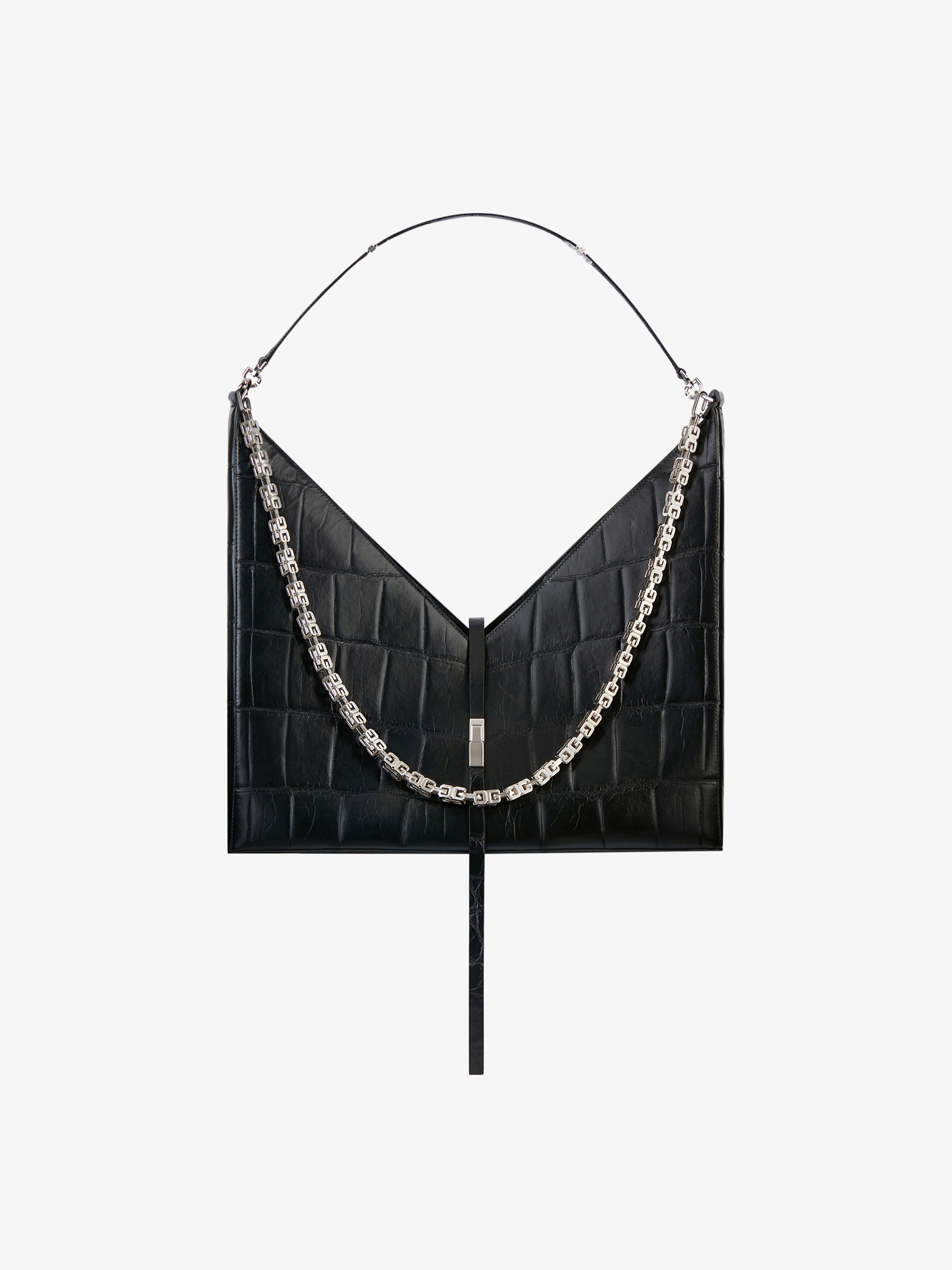 Large Cut Out bag in crocodile effect leather with chain