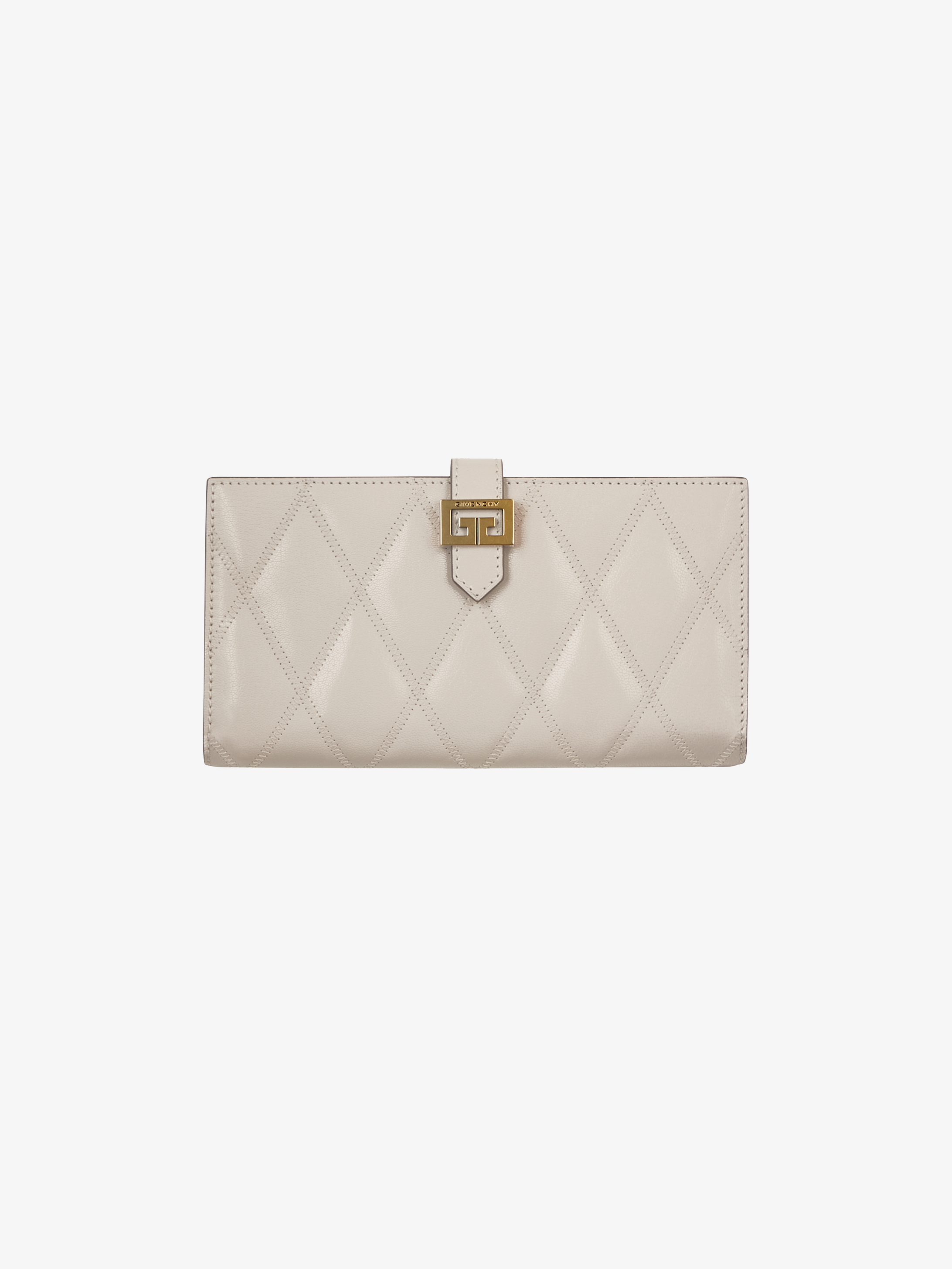 GV3 long wallet in diamond quilted leather