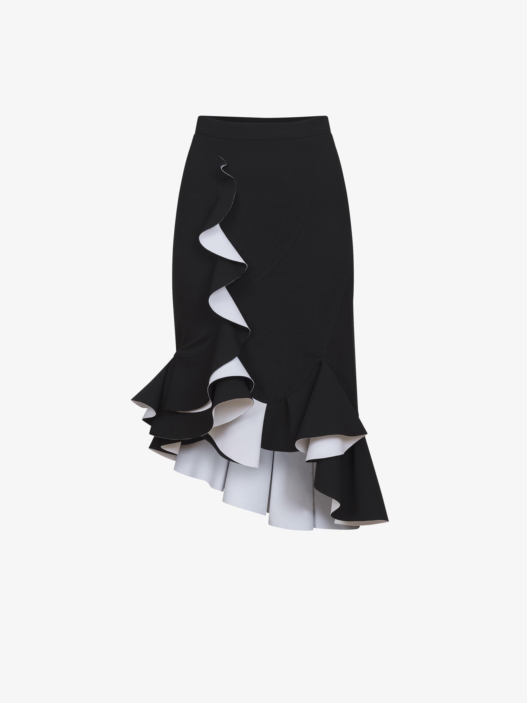 不对称褶饰中长裙