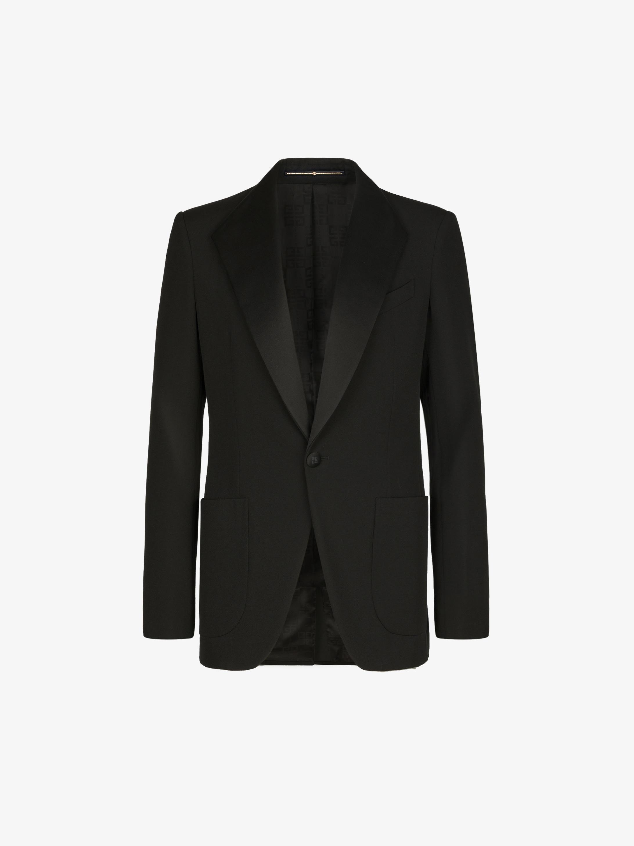 Tuxedo jacket in grain de poudre with satin collar