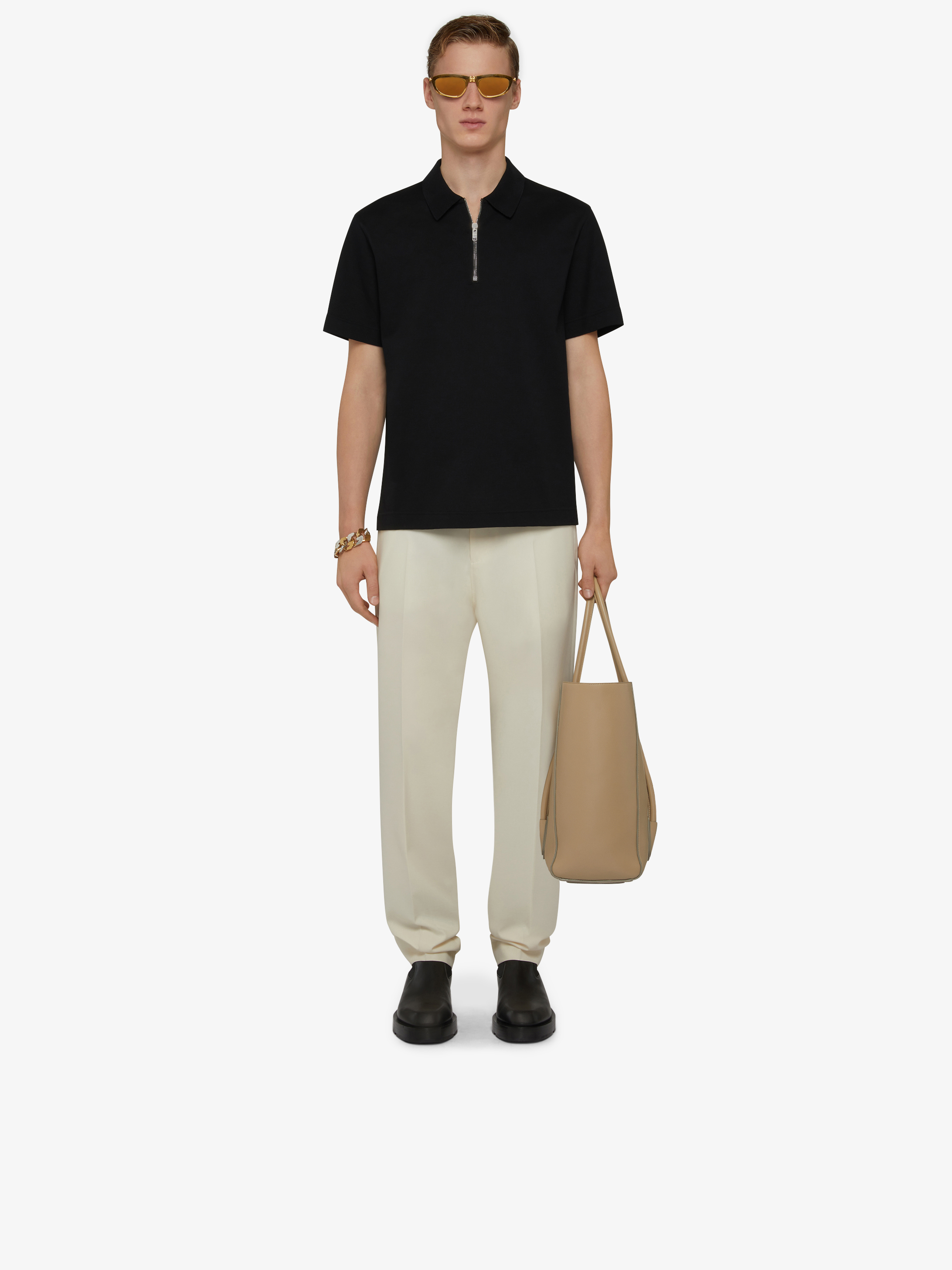 Zipped polo in cotton
