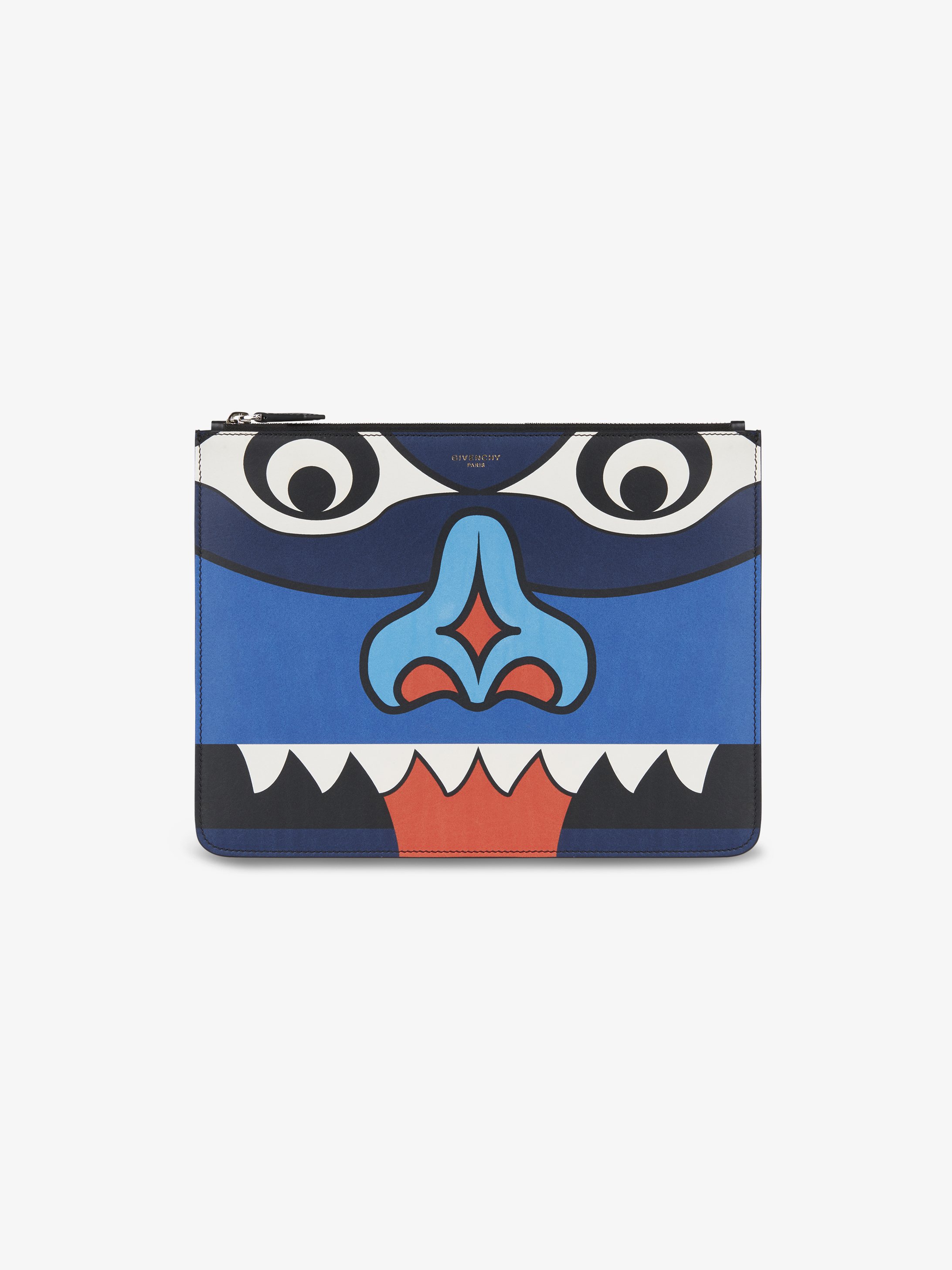 Totem printed pouch in leather