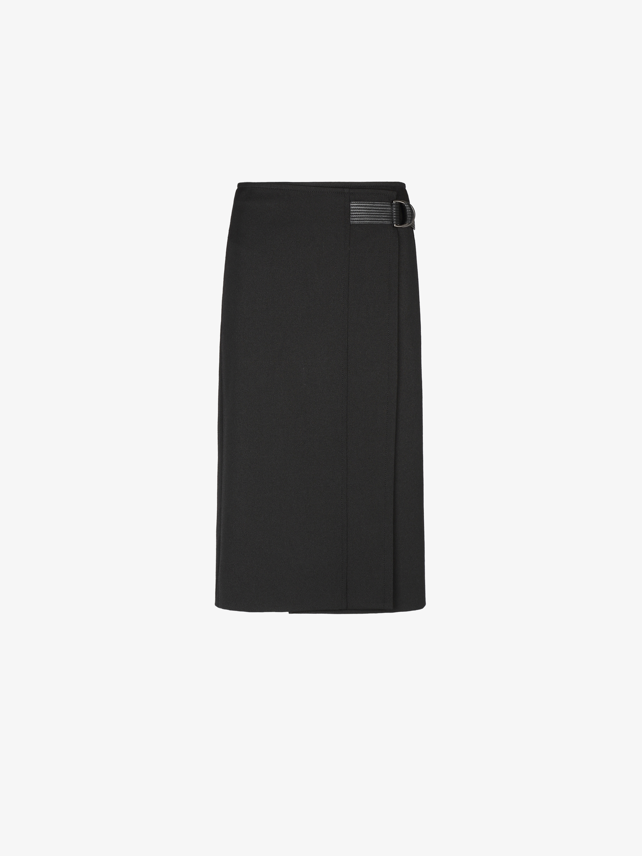 Wrap skirt with leather buckle