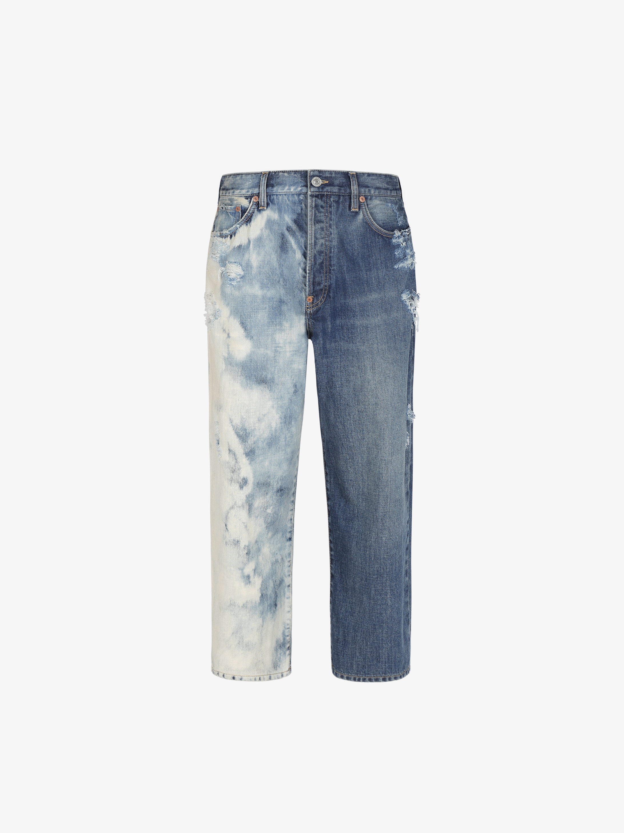 Short boyfriend jean in two tone denim