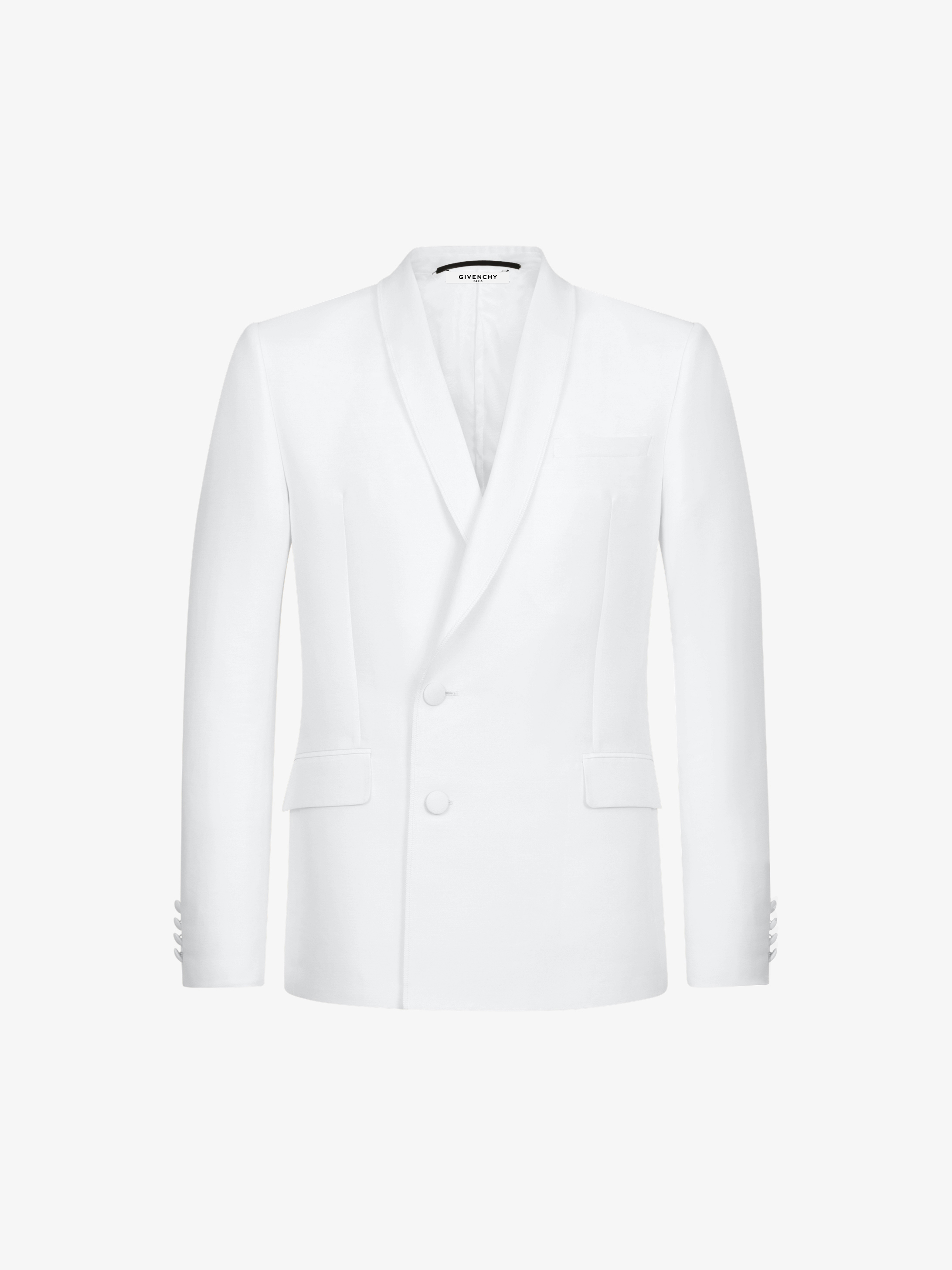Shawl collar jacket in cotton and wool