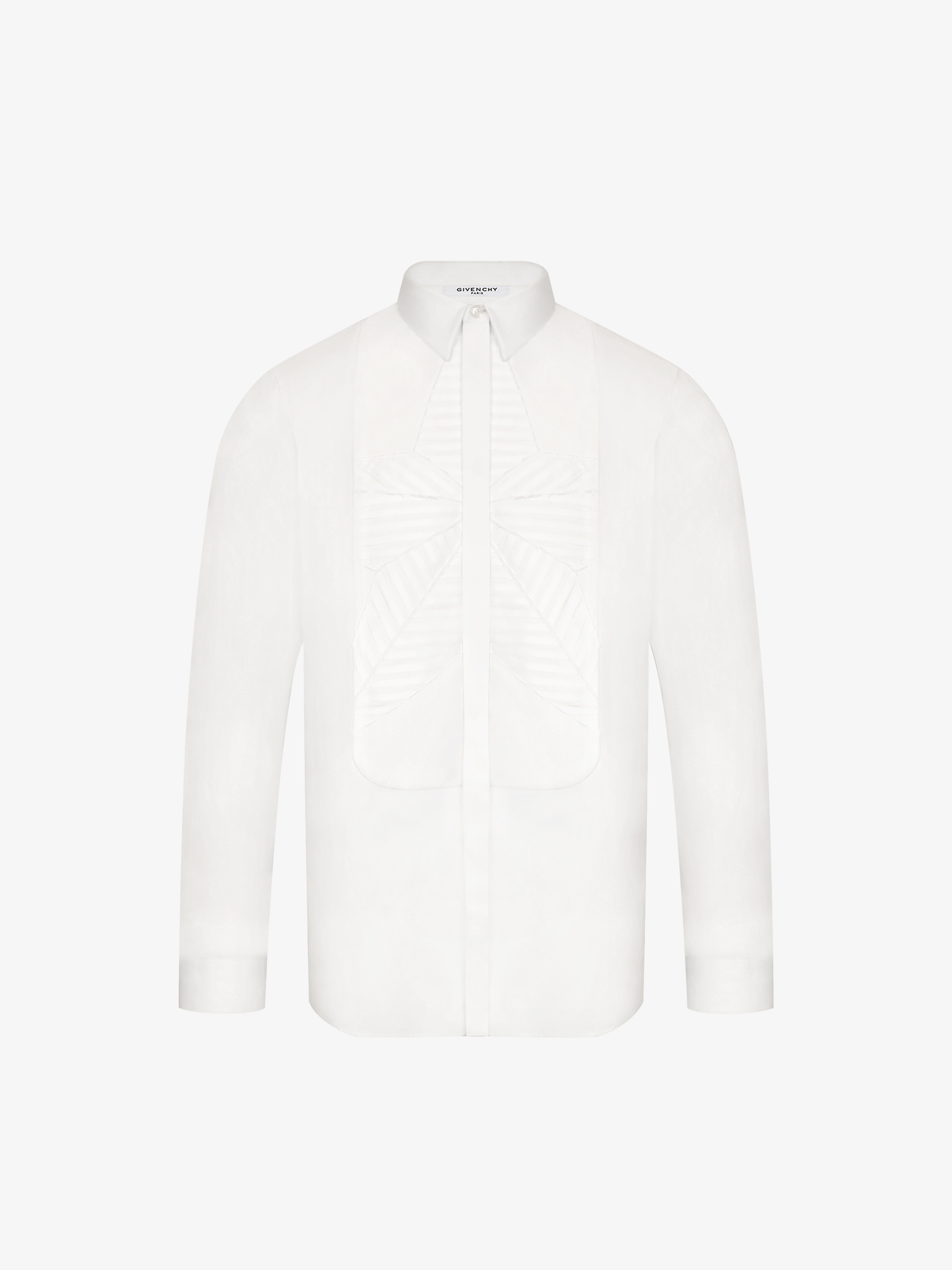 Contemporary poplin shirt with embroidered star plastron