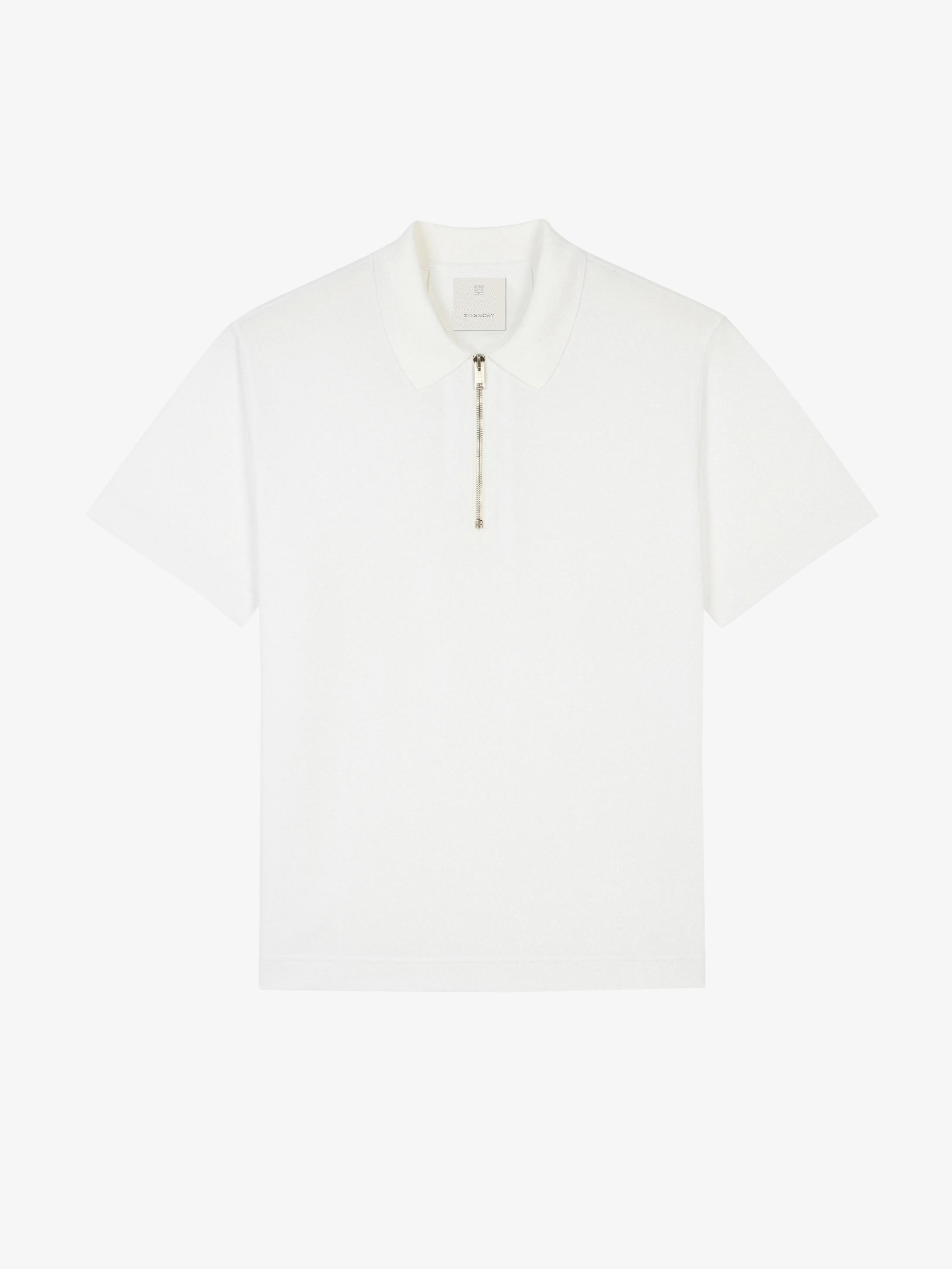 Zipped polo in cotton