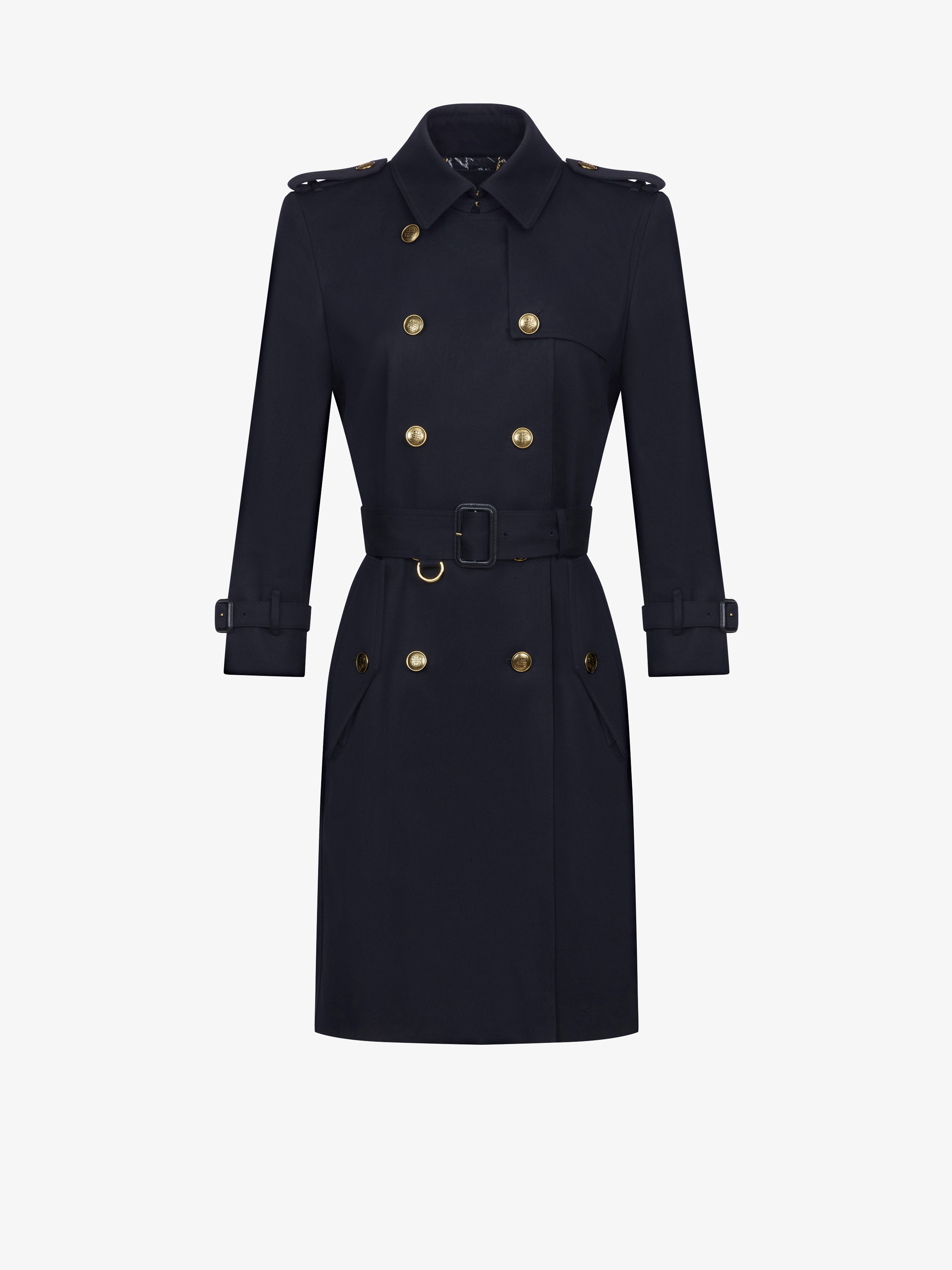 Fitted trench coat with gold 4G buttons