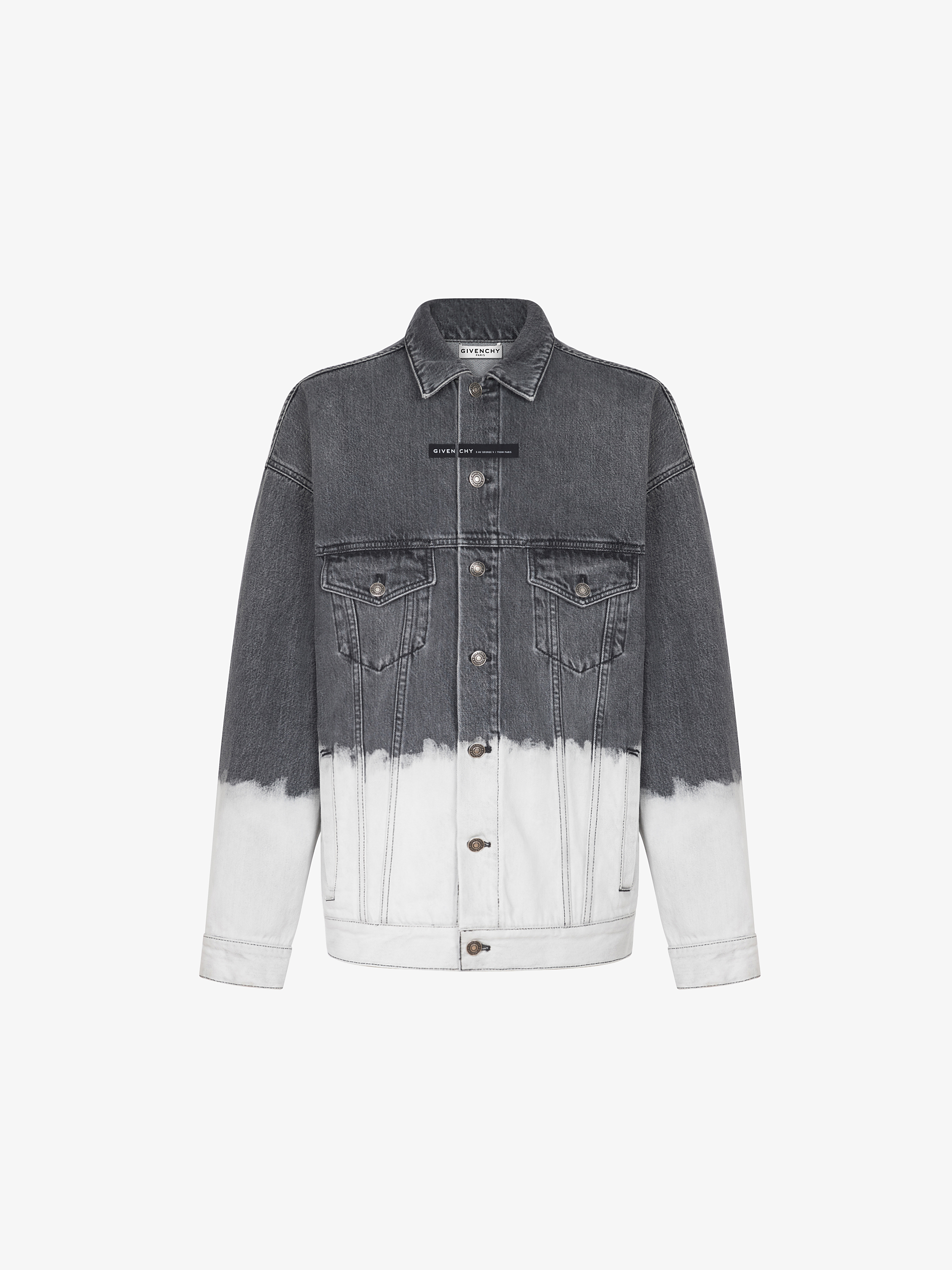 Oversized jacket in two tone denim