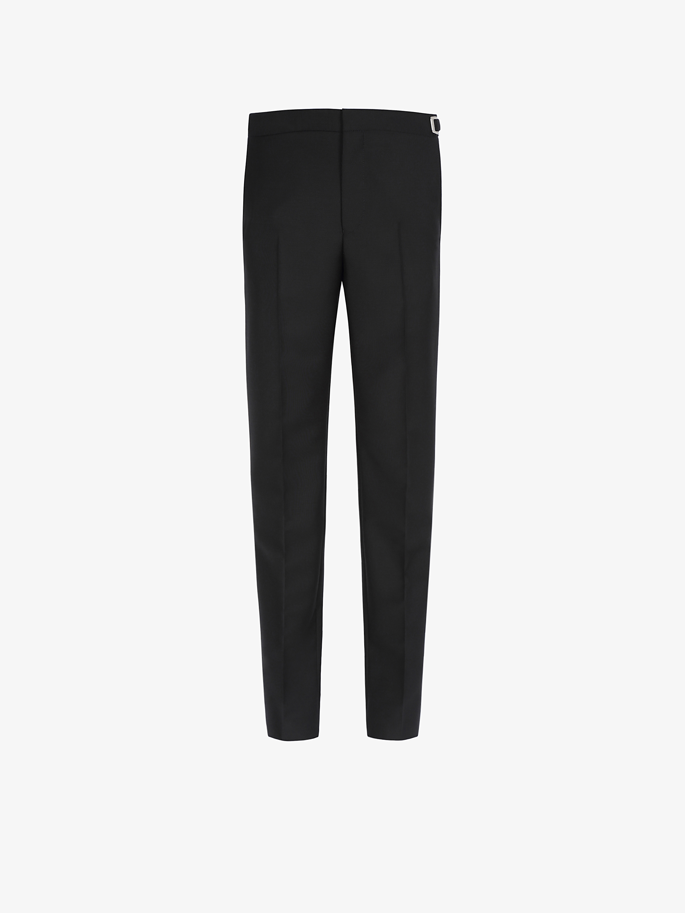Slim fit pants in wool and mohair with  metal details