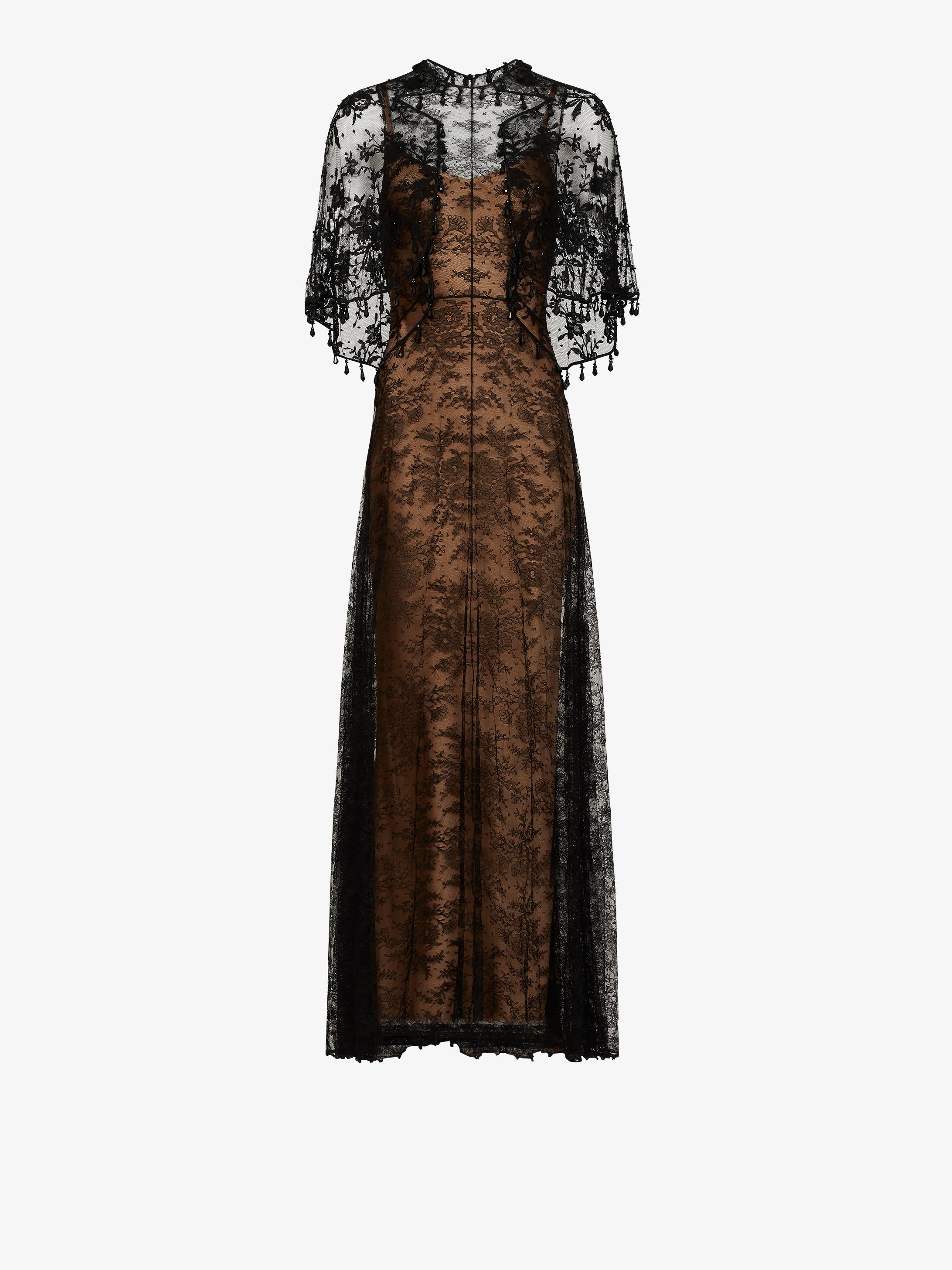 刺绣花边长款连衣裙