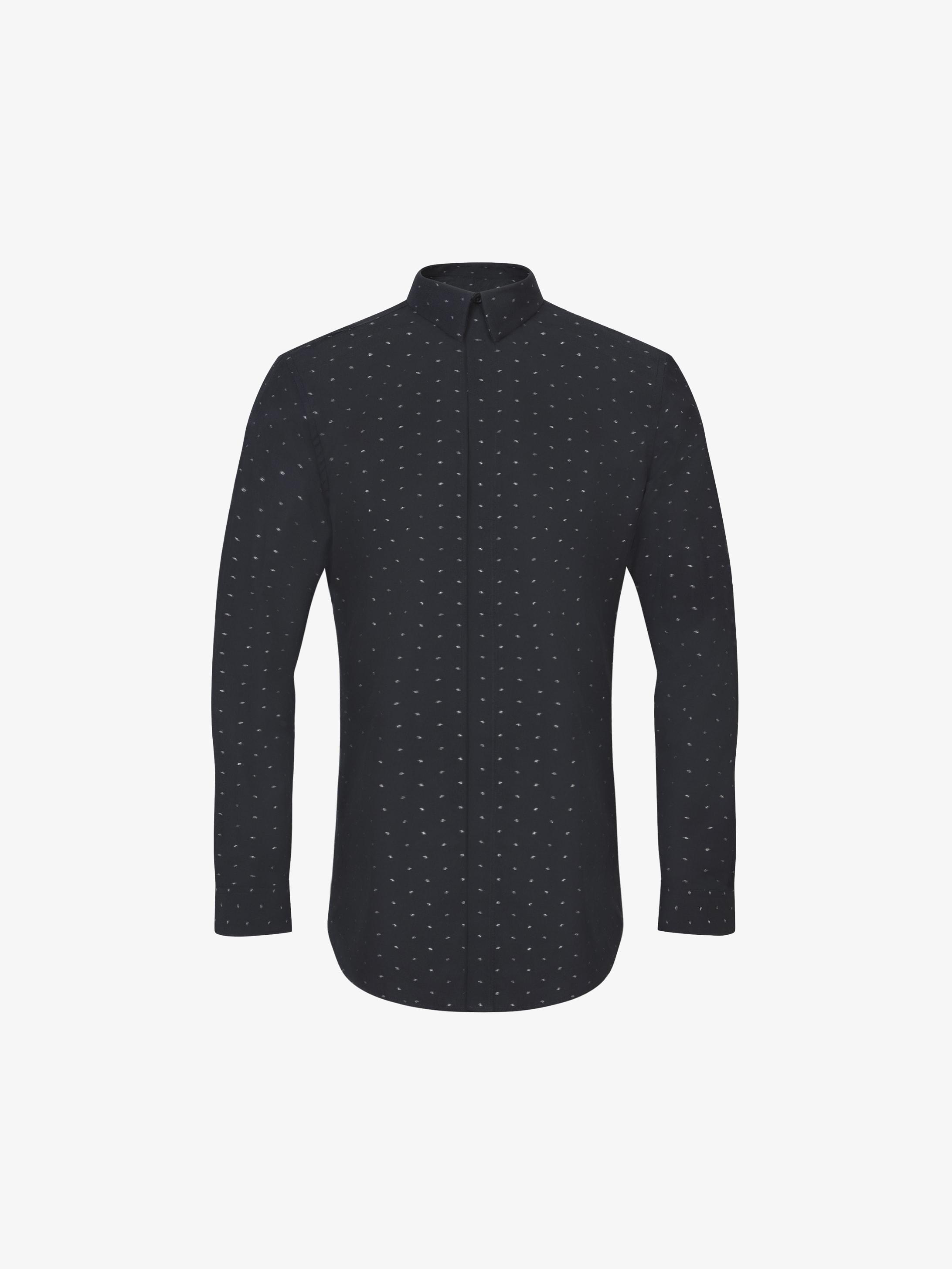 Camicia slim fit in jacquard nero e argento