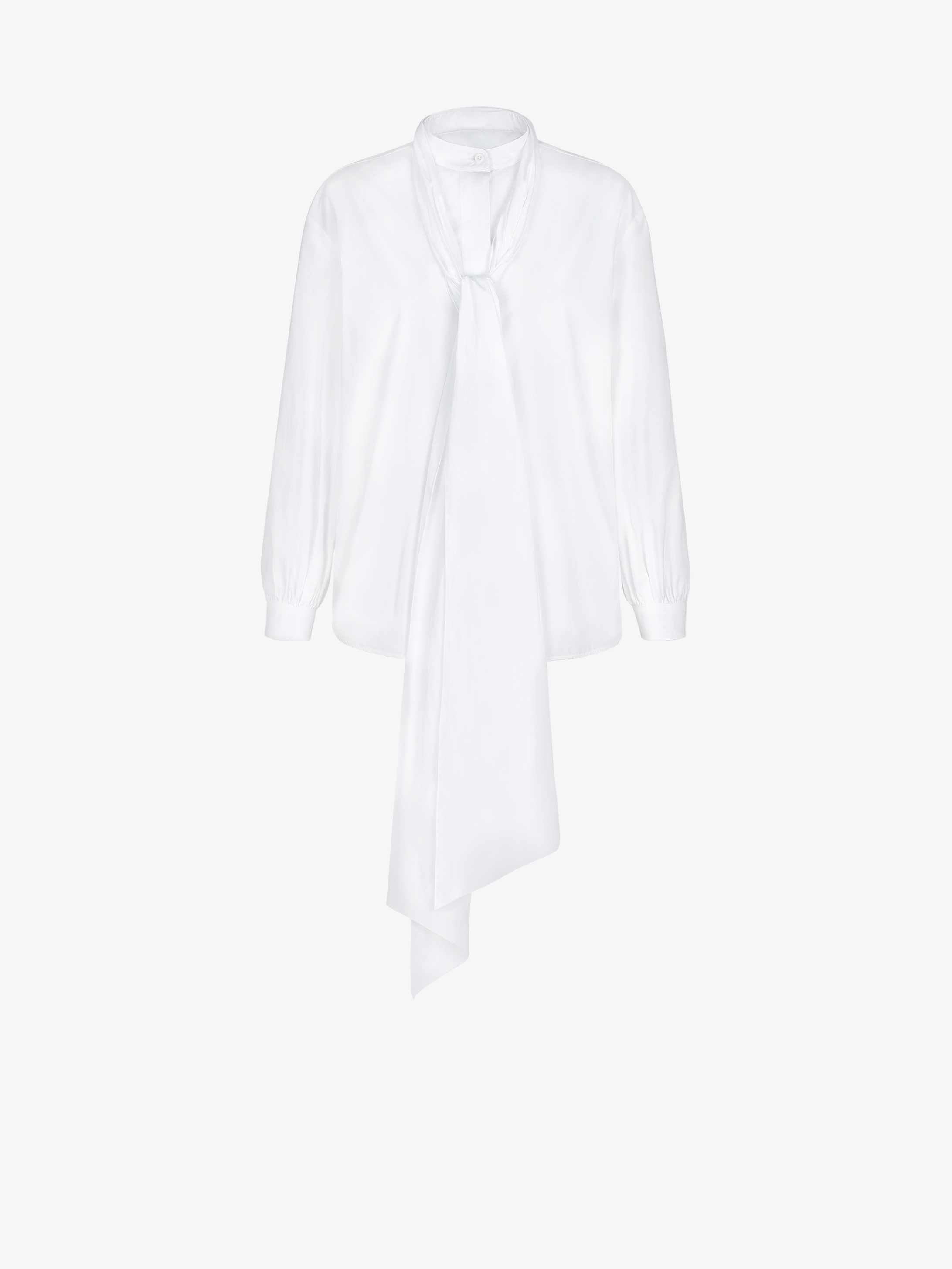 Blouse with scarf collar in poplin