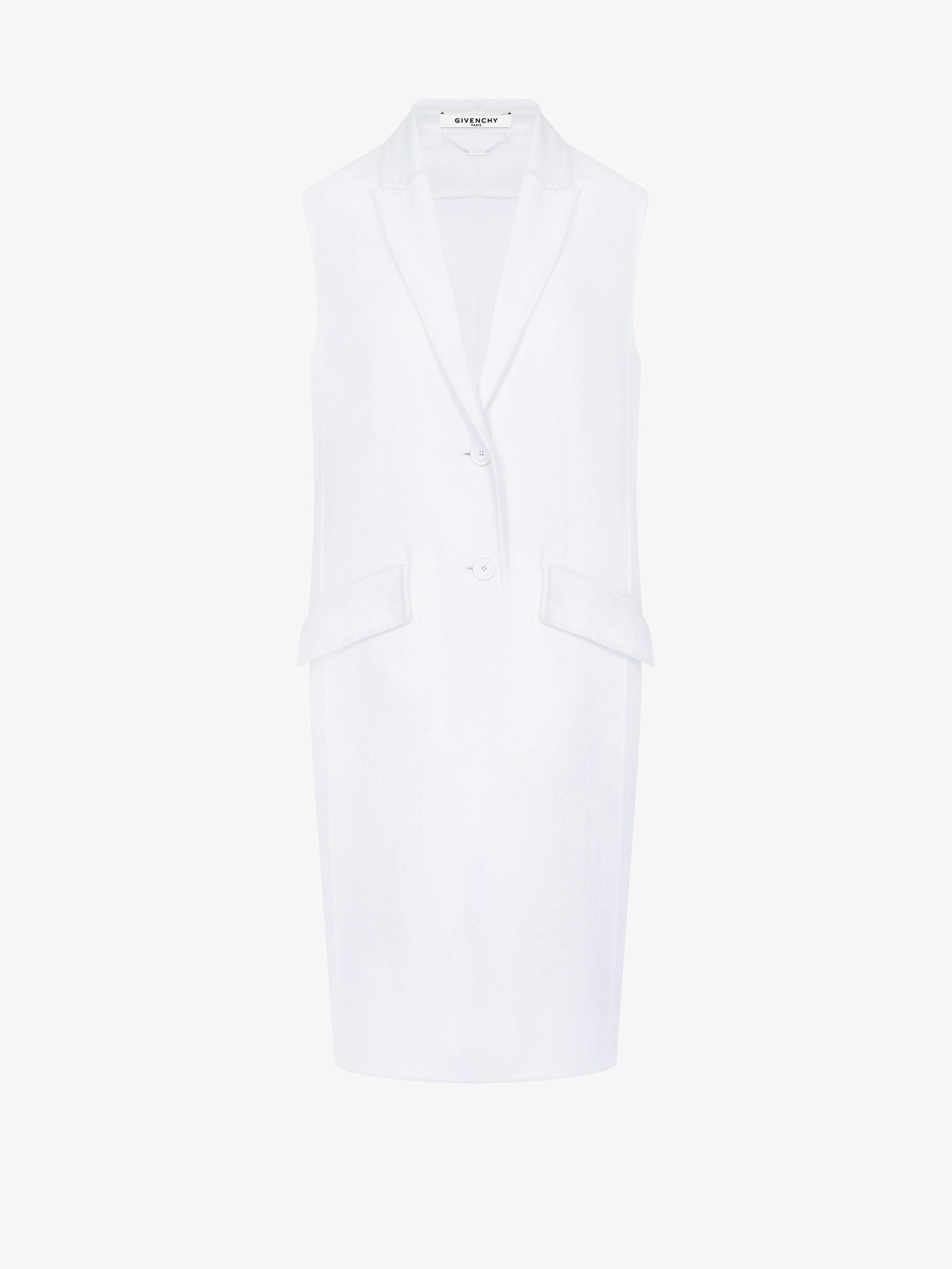 Long masculine sleeveless coat