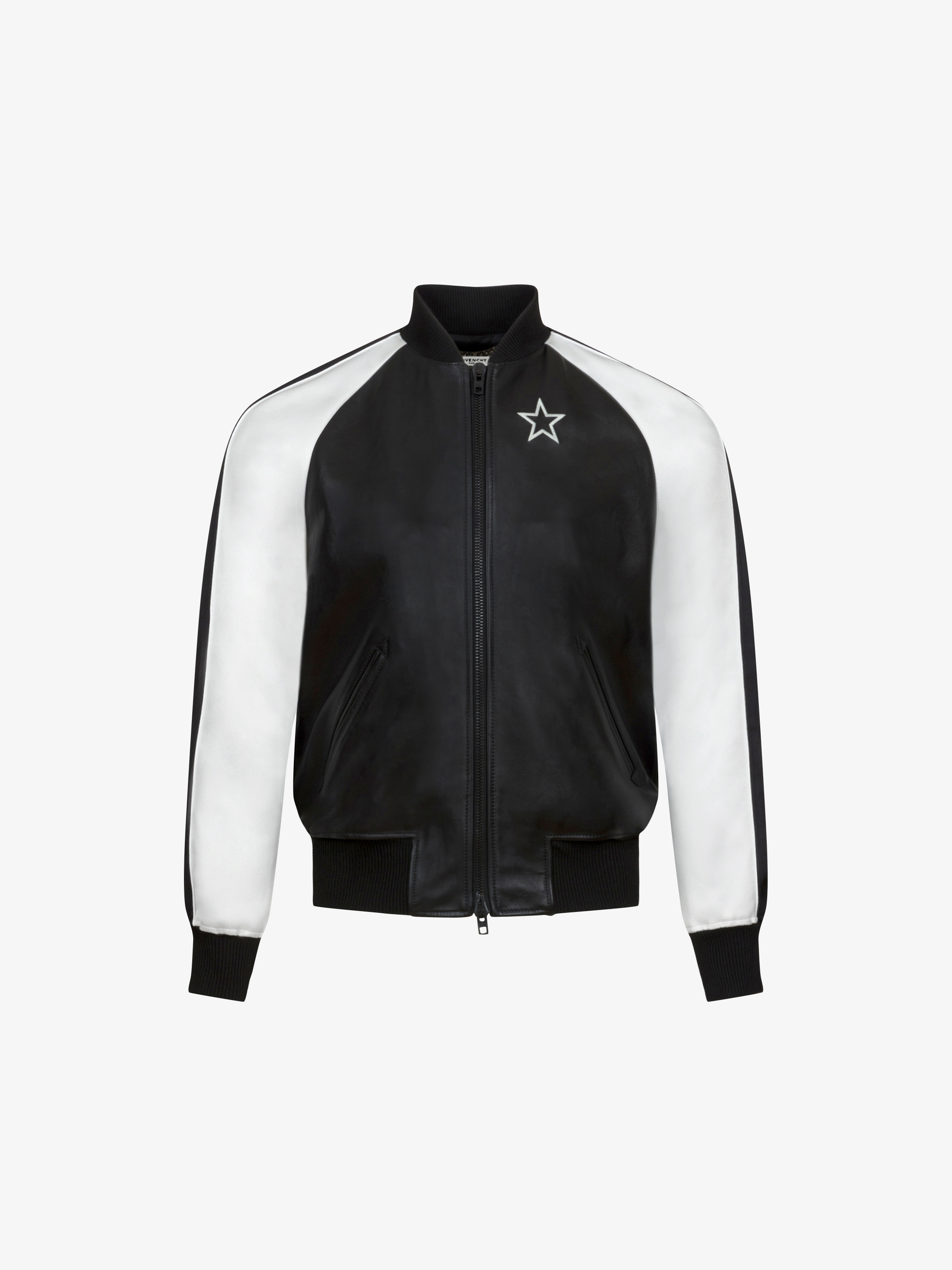 Star bomber jacket in leather