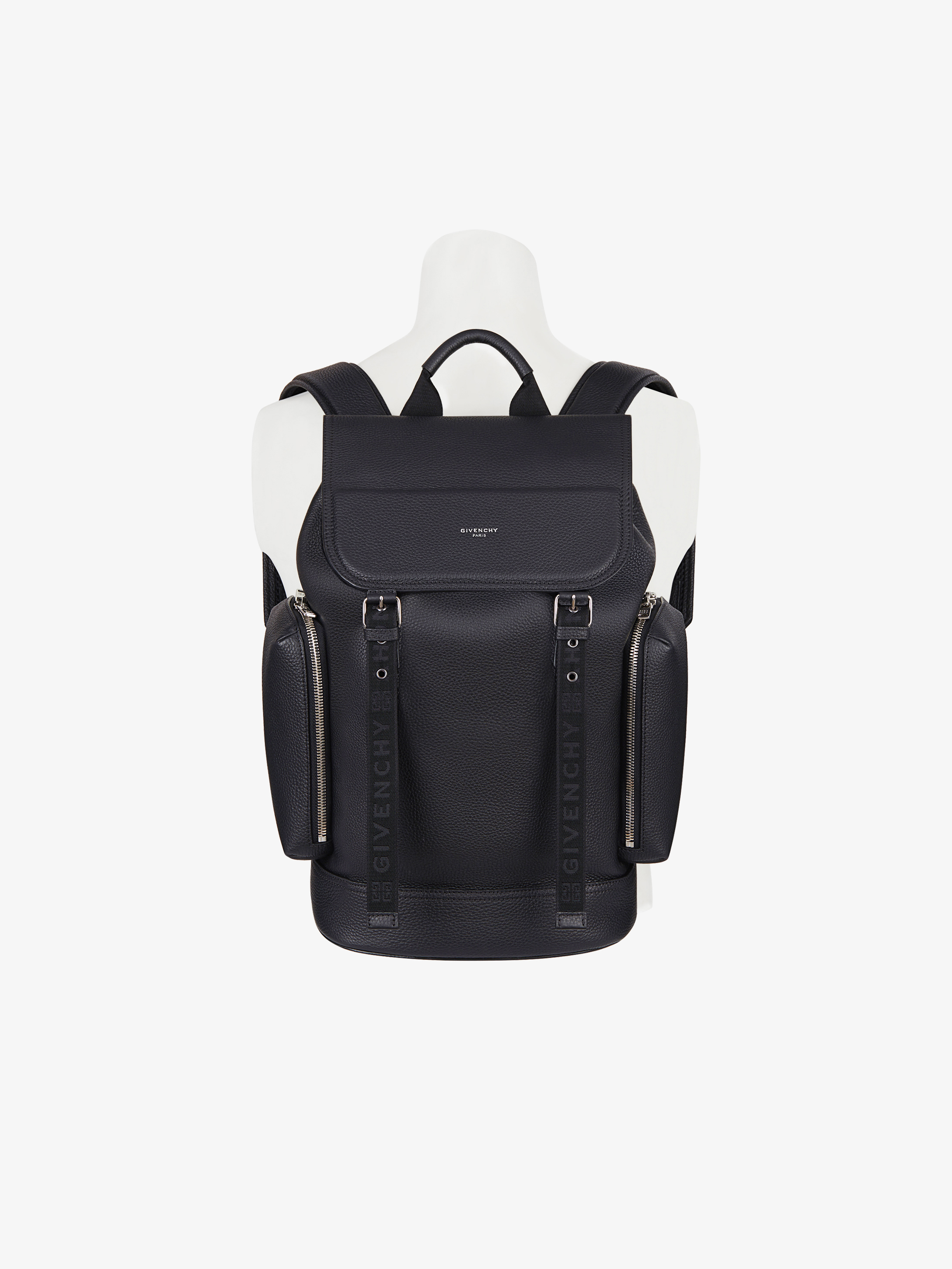 Multi-pockets backpack in grained leather