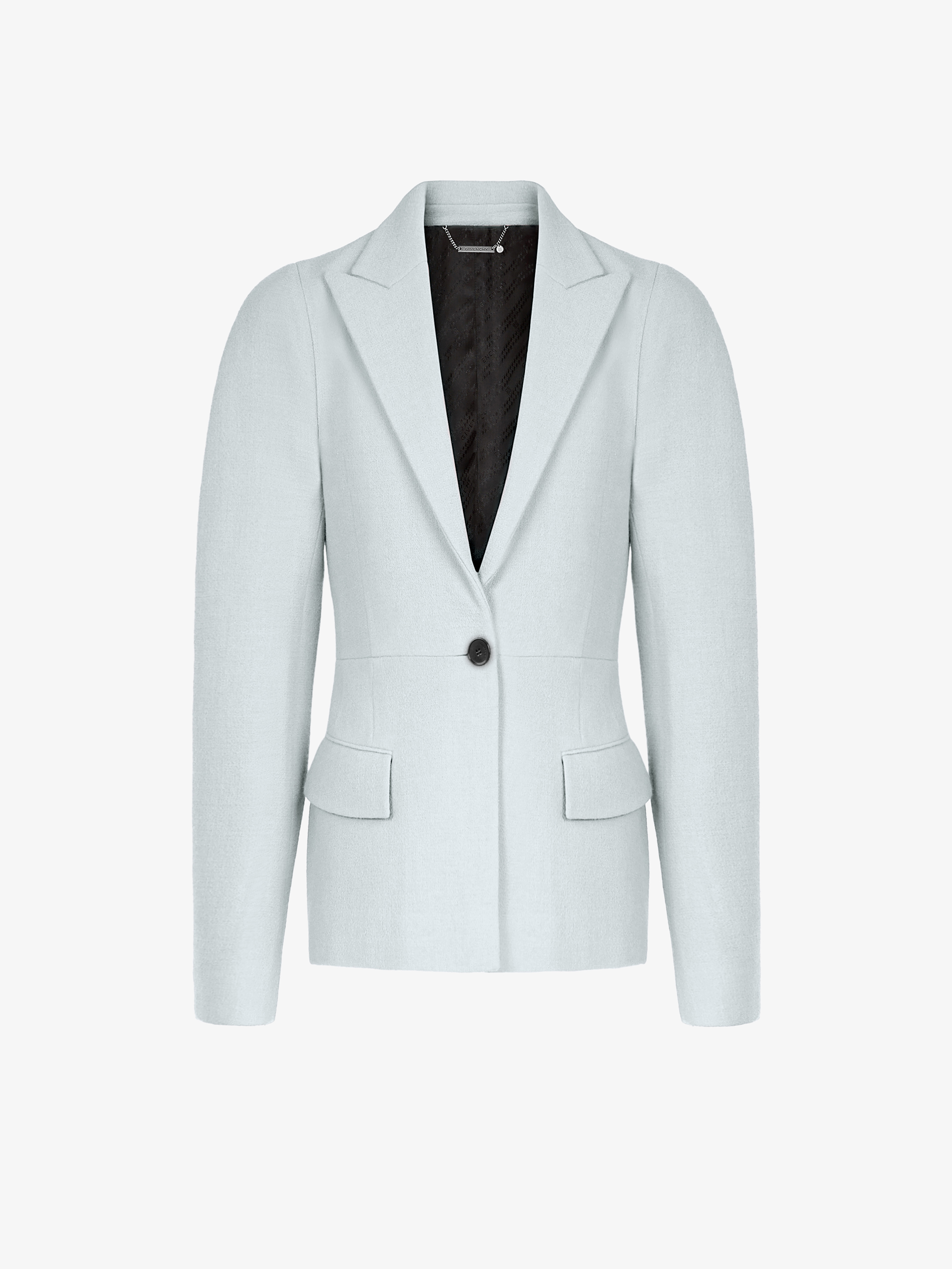 Peplum jacket in wool with curved shoulders