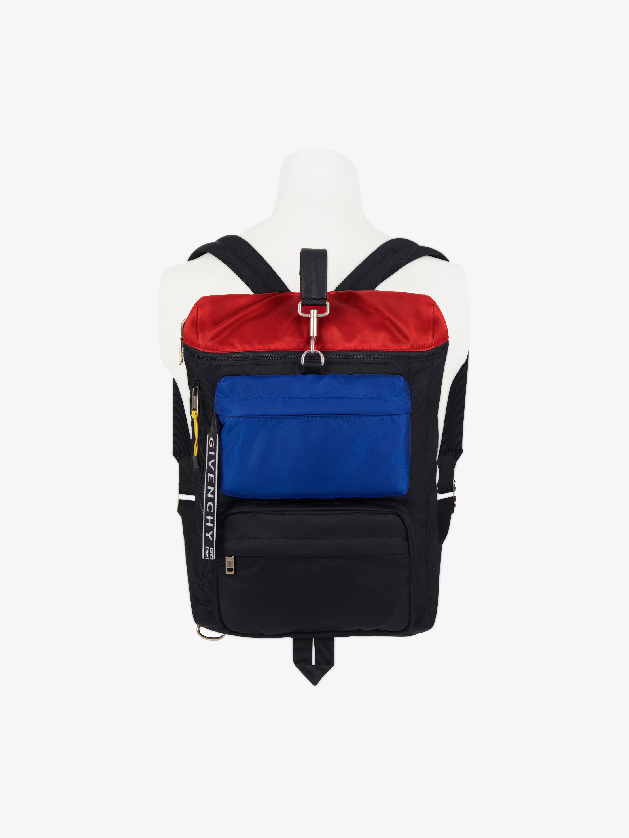 Tricolor flat backpack in nylon