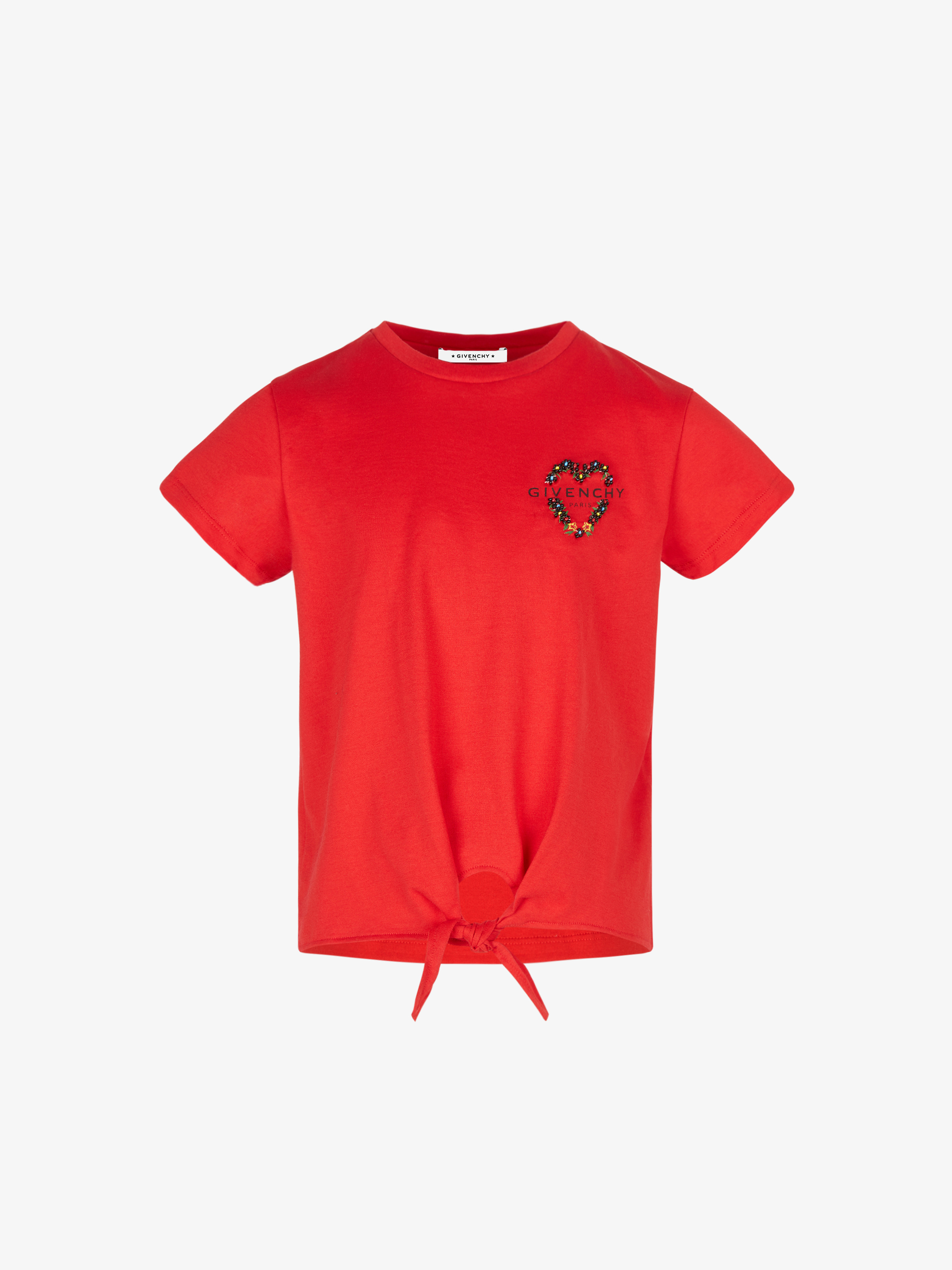 GIVENCHY floral embroidered tie t-shirt