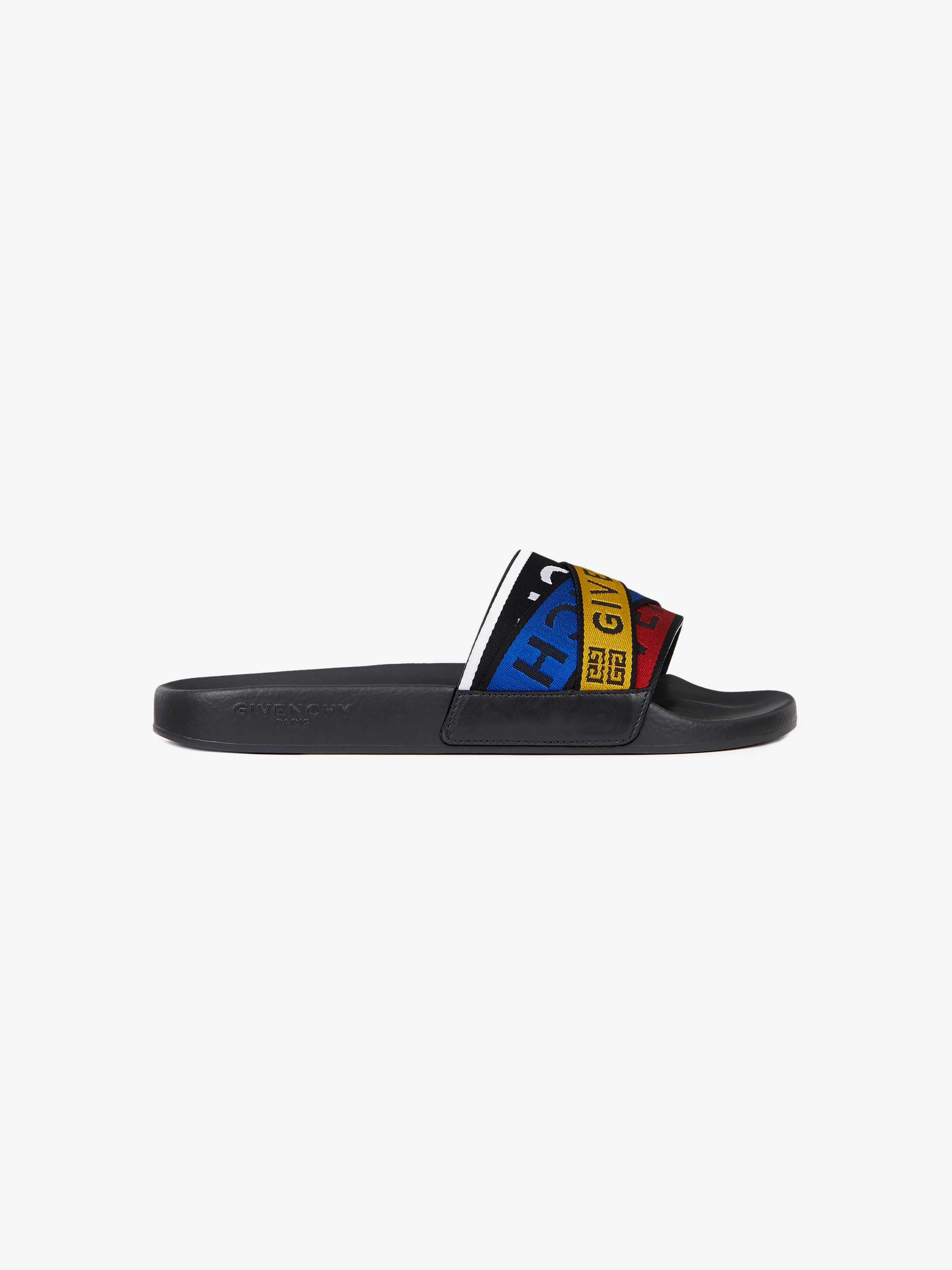 GIVENCHY 4G webbing sandals in leather and rubber