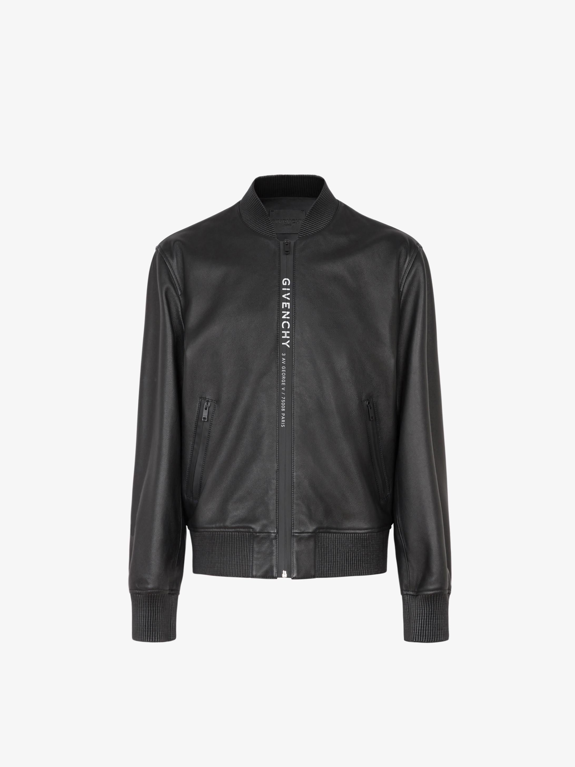 GIVENCHY ADDRESS webbing bomber jacket in leather