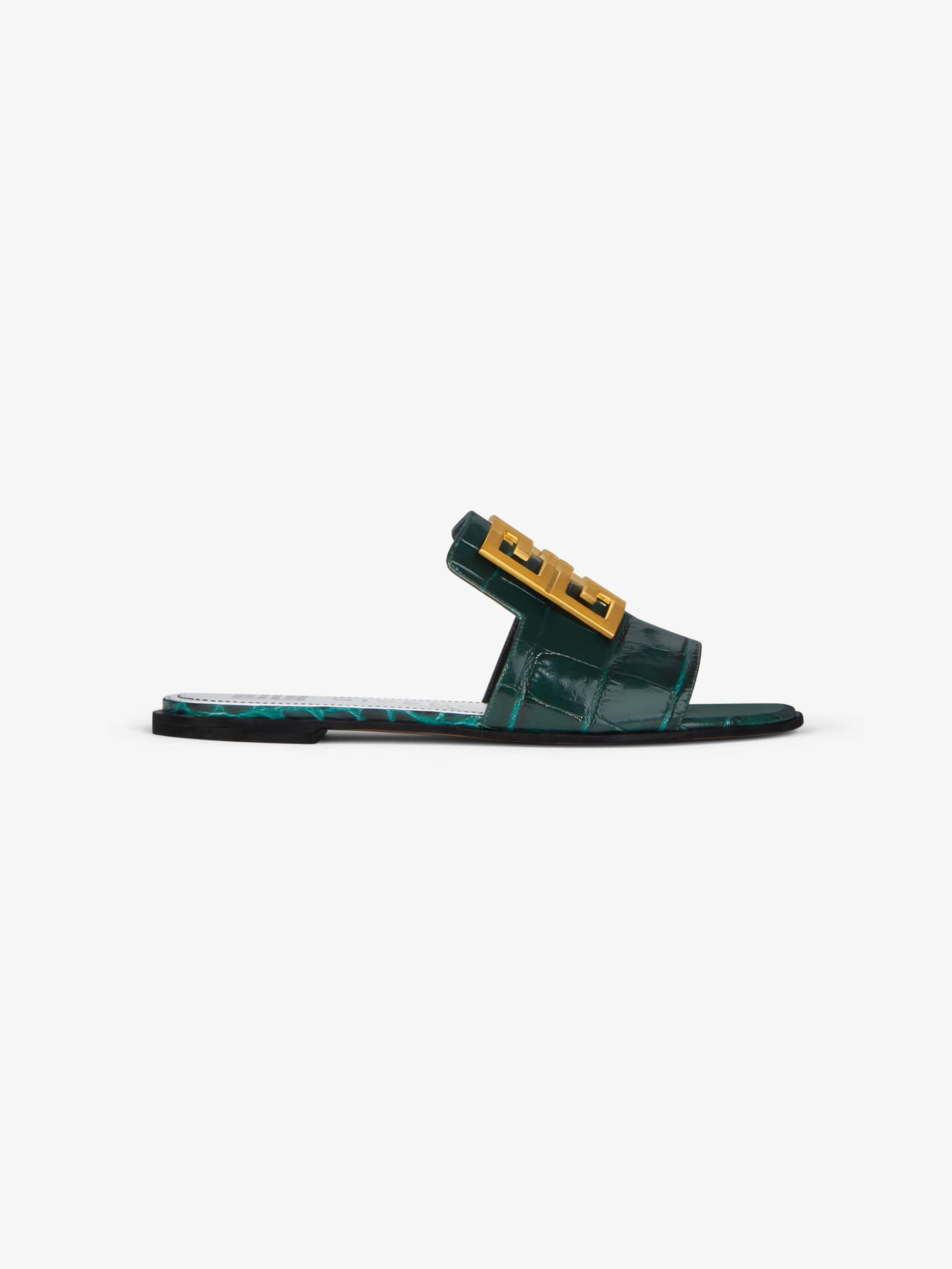 鳄鱼纹效果4G LOGO凉鞋