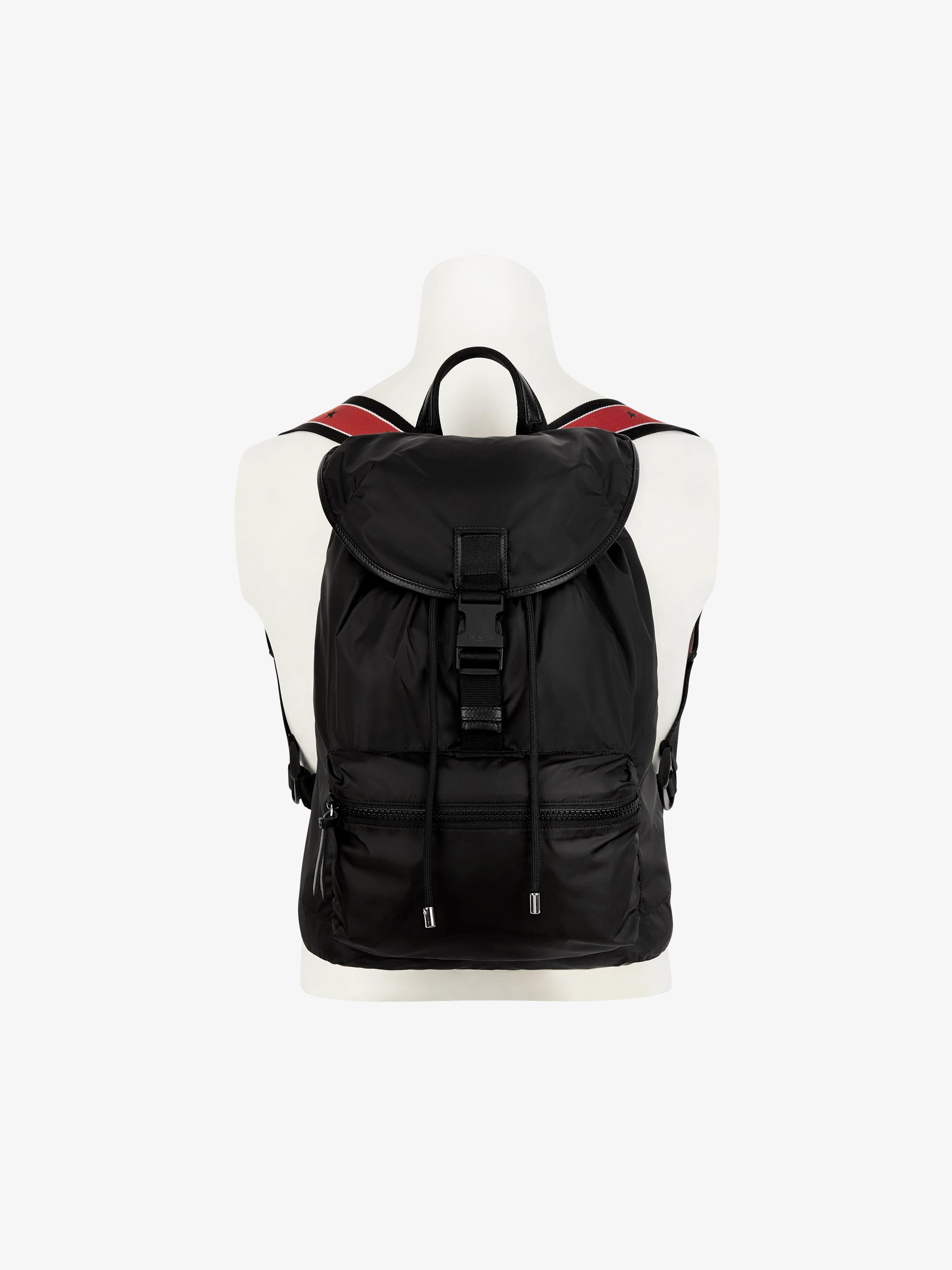 Stars tape straps pack-away backpack in nylon