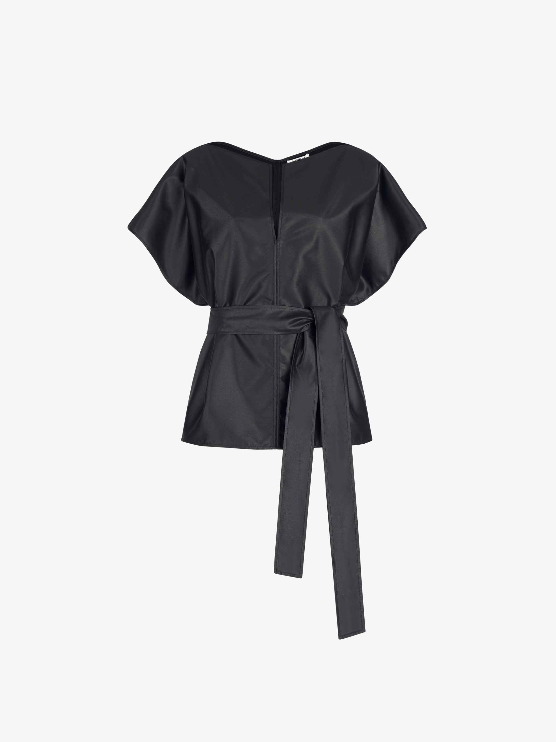 Belted short sleeves top