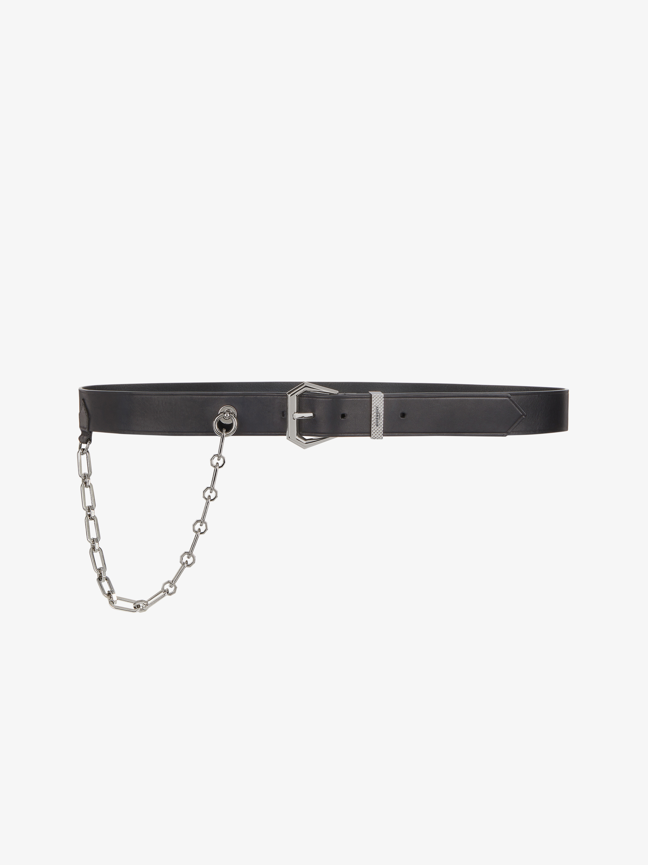 Hexagonal buckle belt in leather with chain