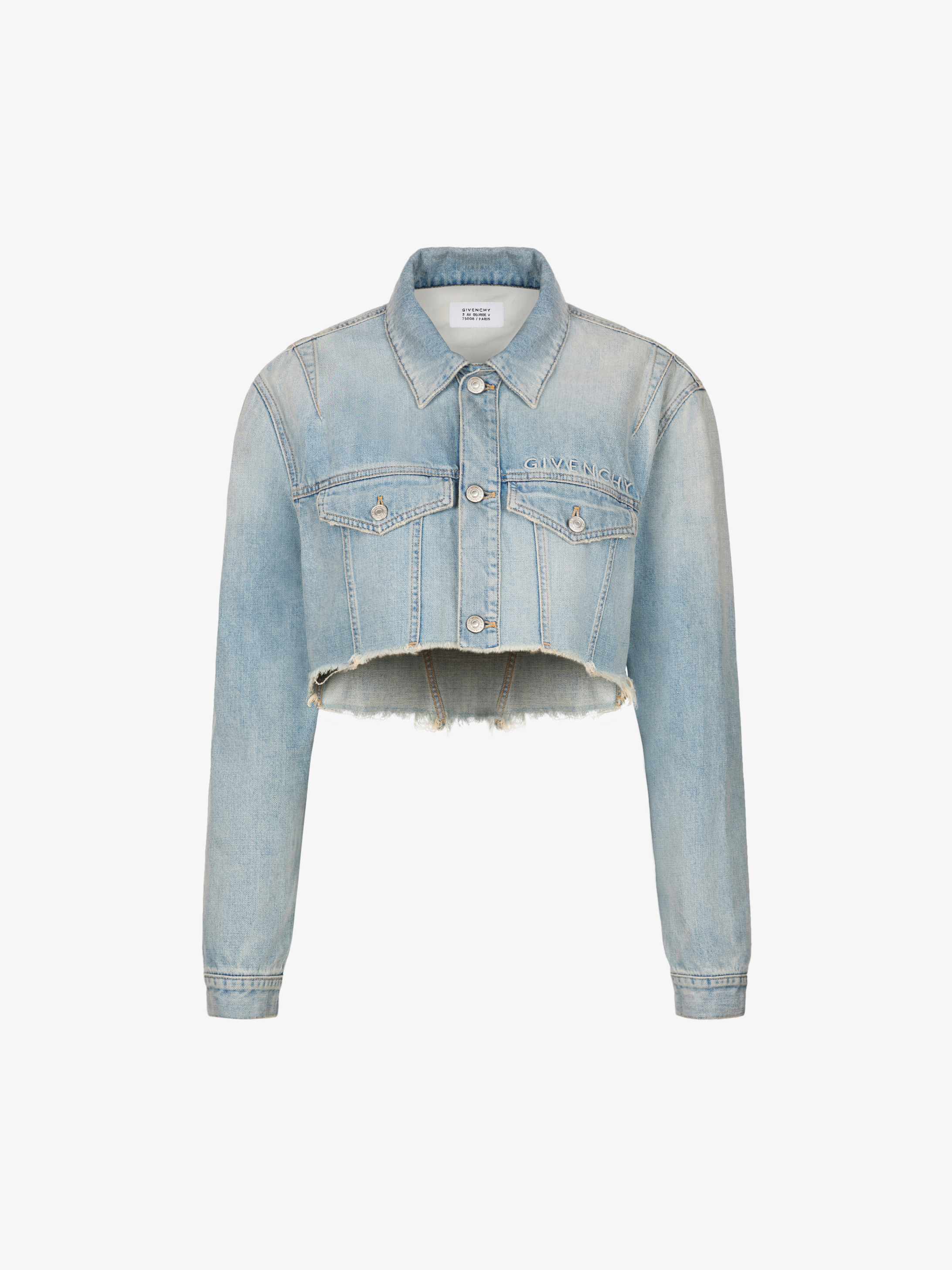 GIVENCHY embroidered faded jacket in denim