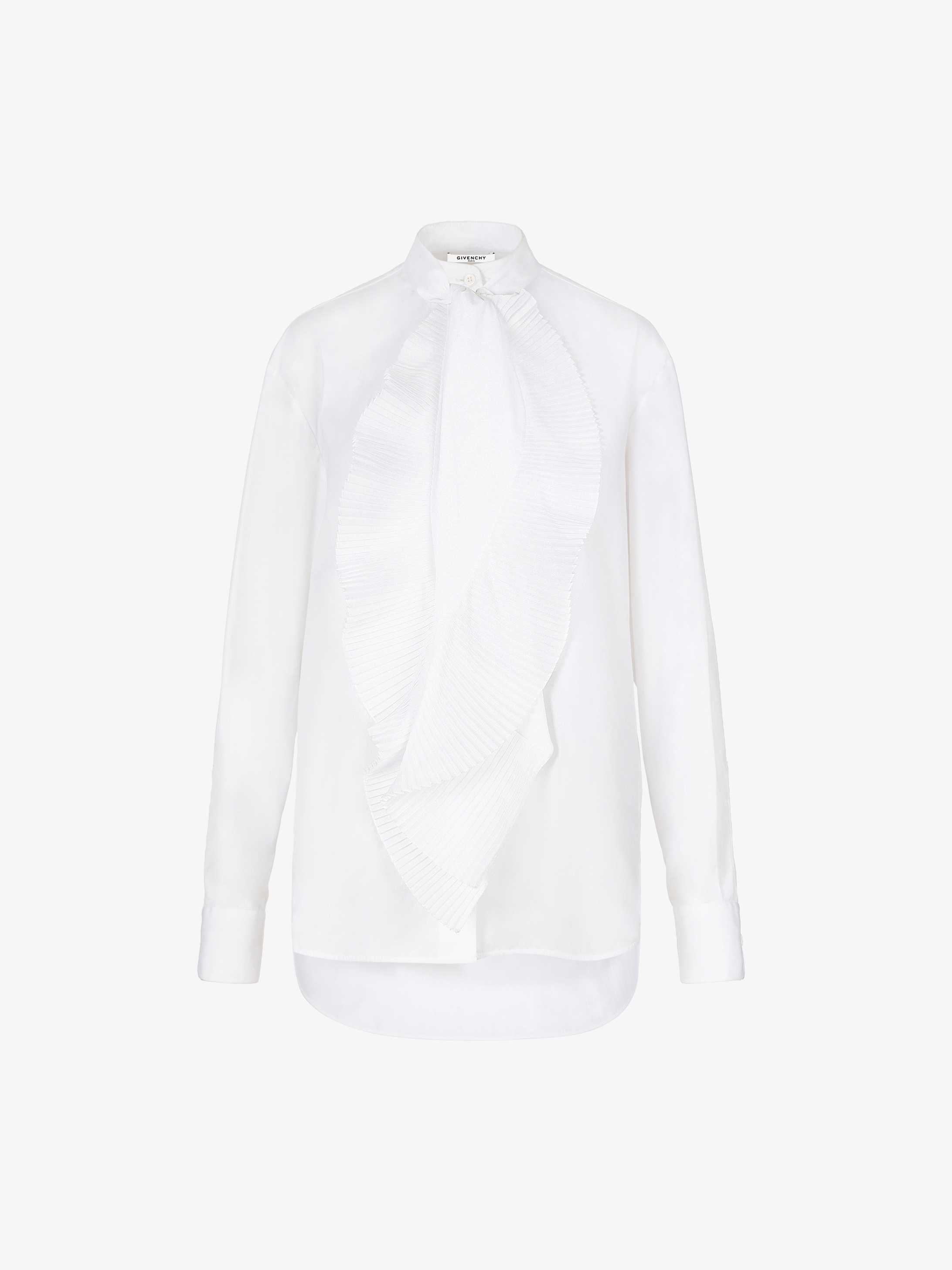 Long sleeves shirt with pleated scarf in cotton