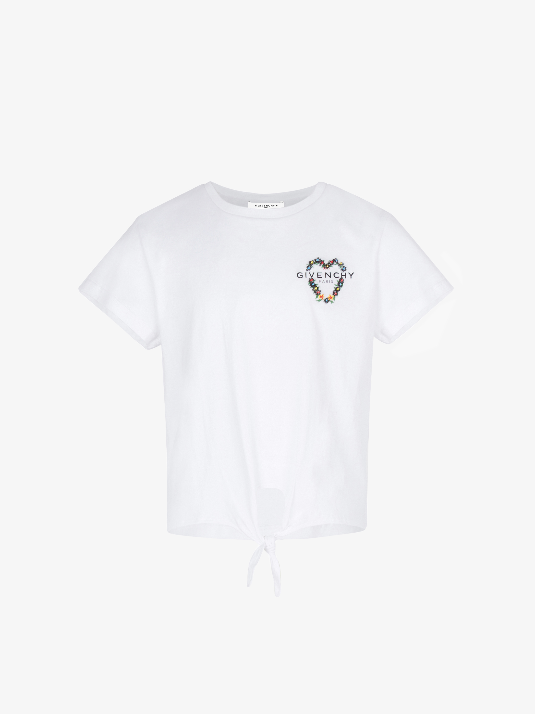 T-shirt noué à broderie florale GIVENCHY