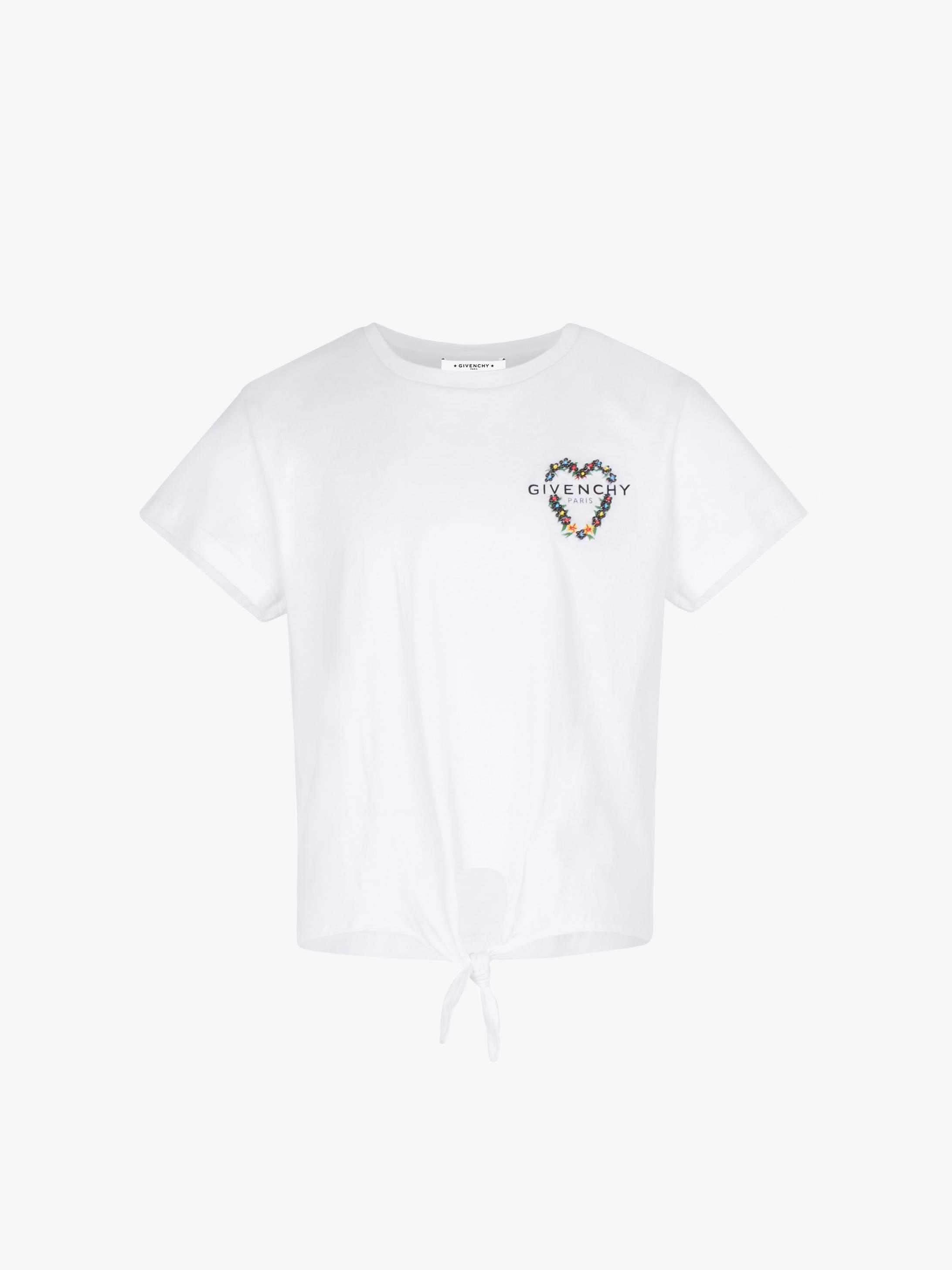 GIVENCHY花卉刺绣系结T恤