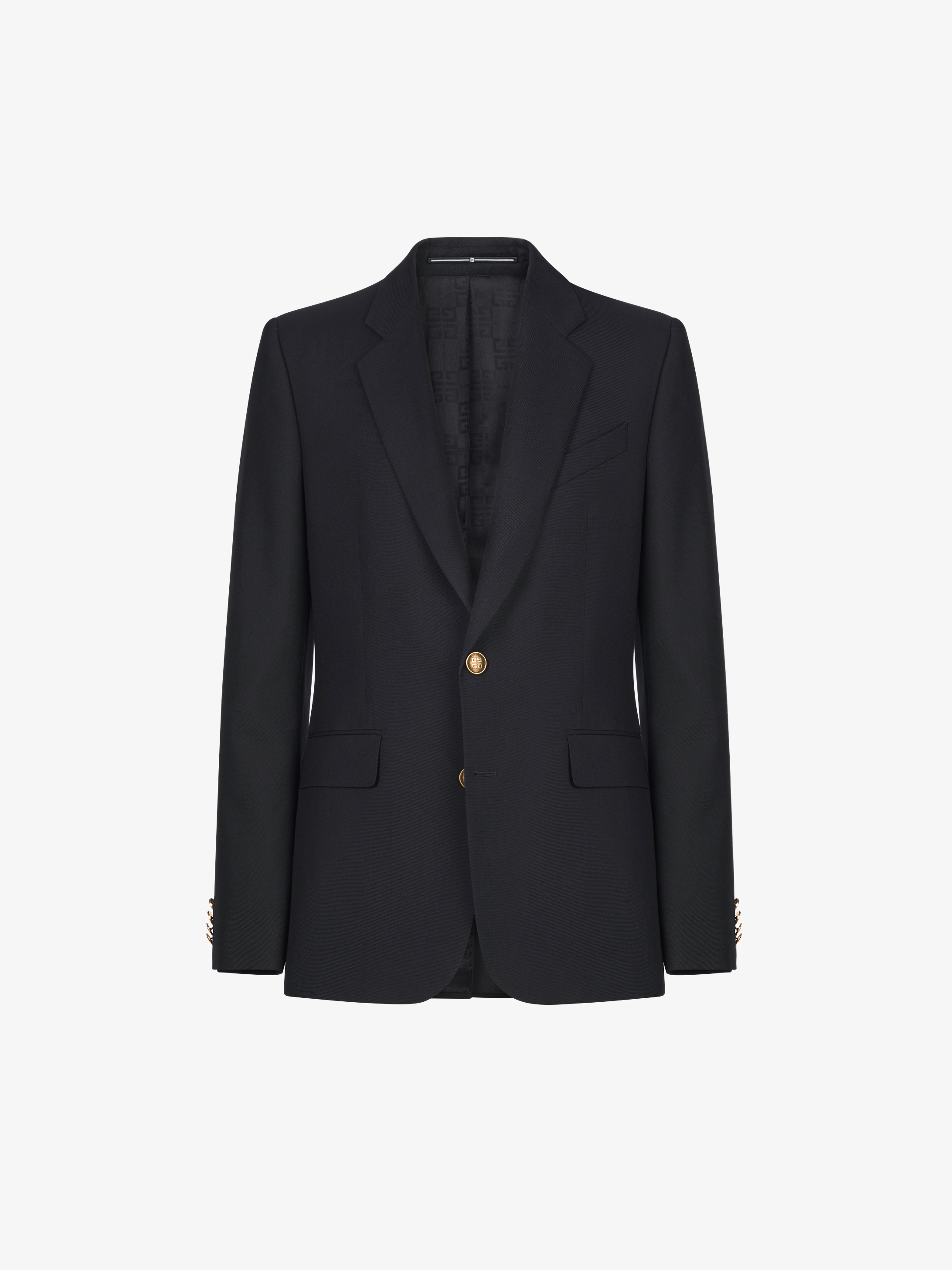 Jacket in wool gabardine with 4G button