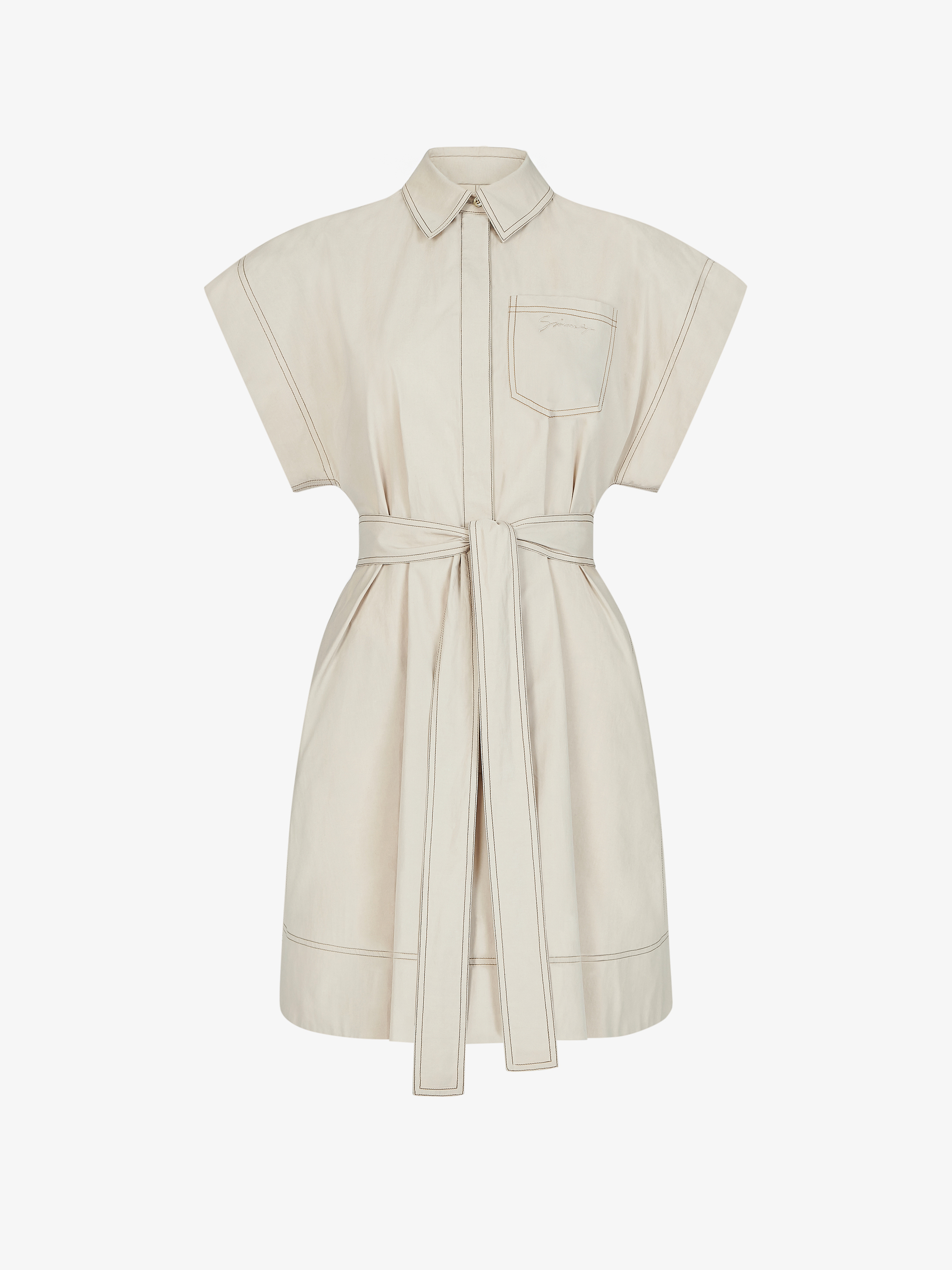 Short shirt dress with contrasting stitching