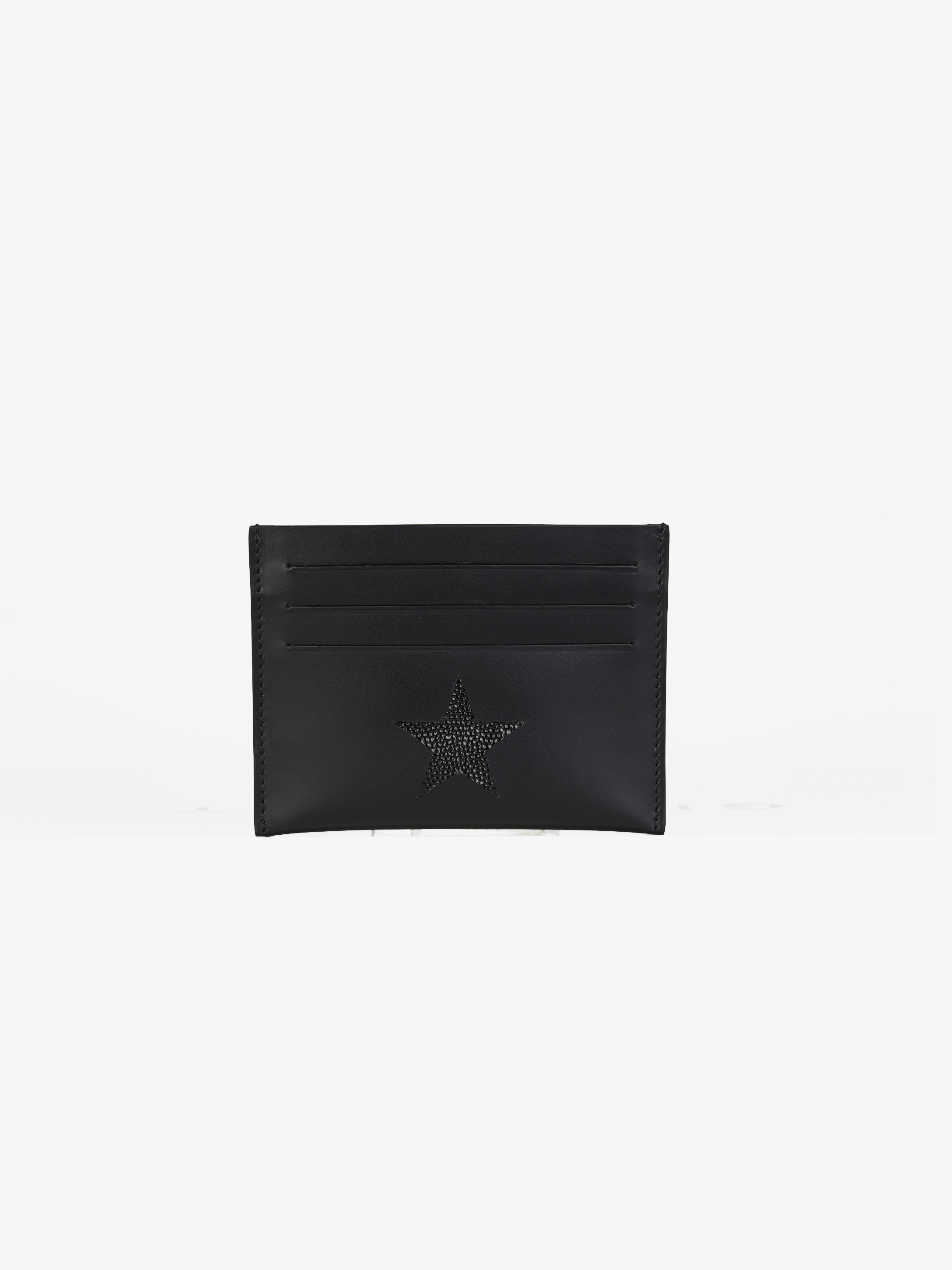 Contrasting star double card-holder in leather