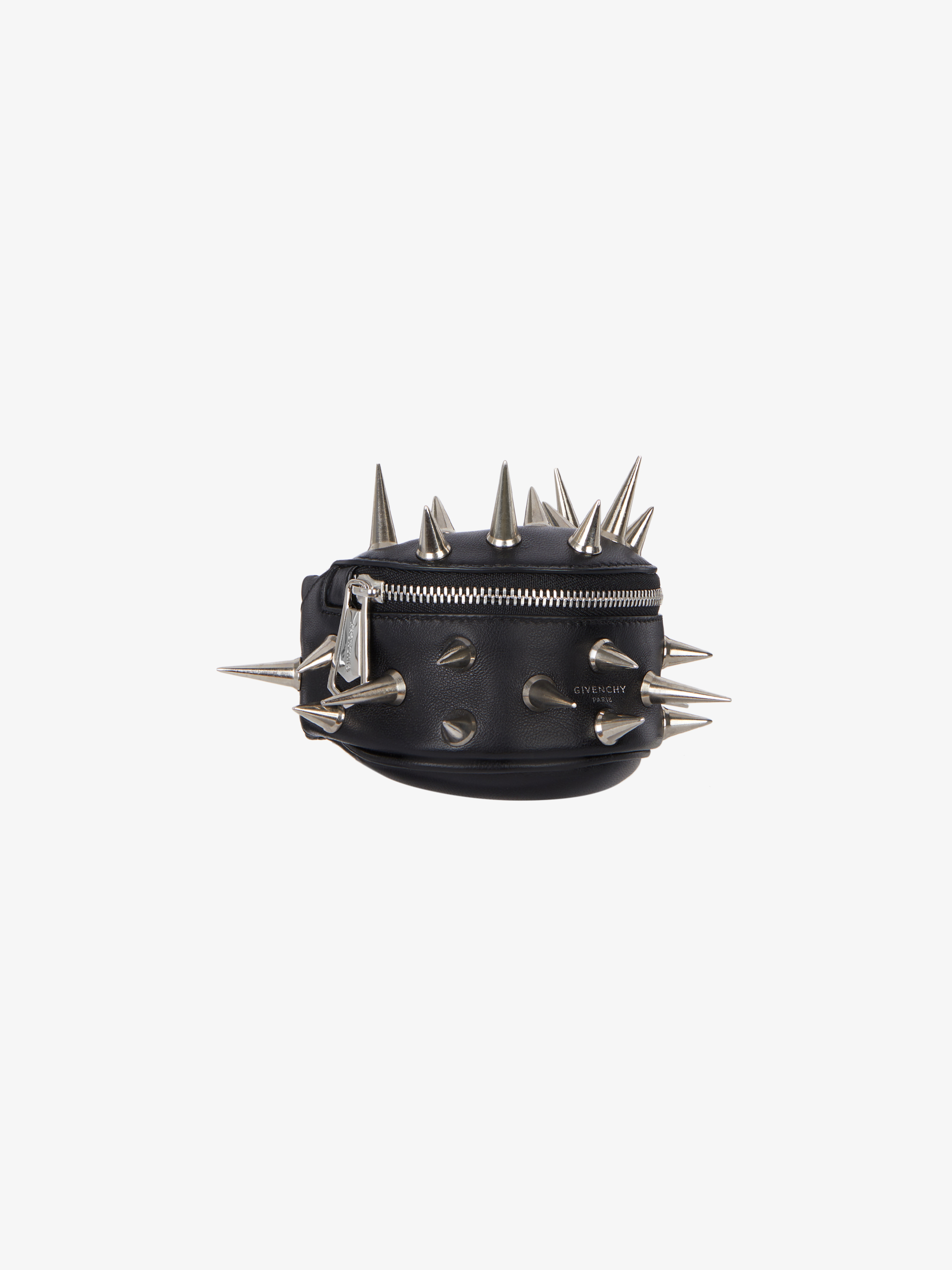 Mini bum bag bracelet in leather with spikes