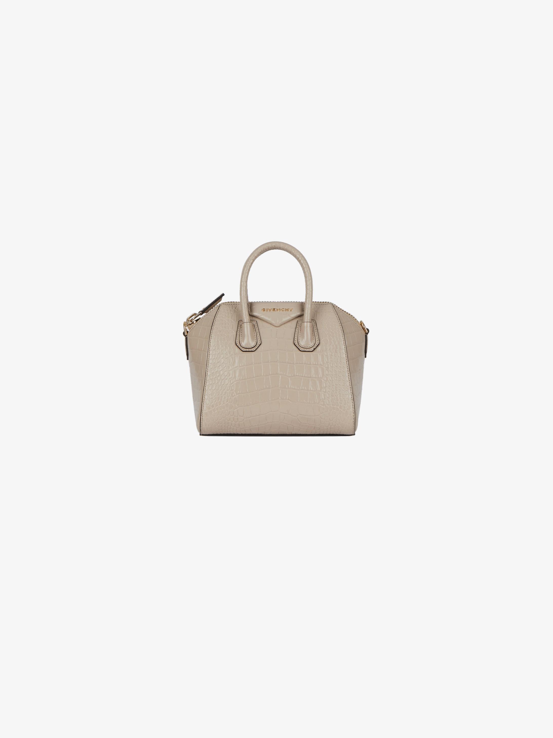 Mini Antigona bag in crocodile effect leather