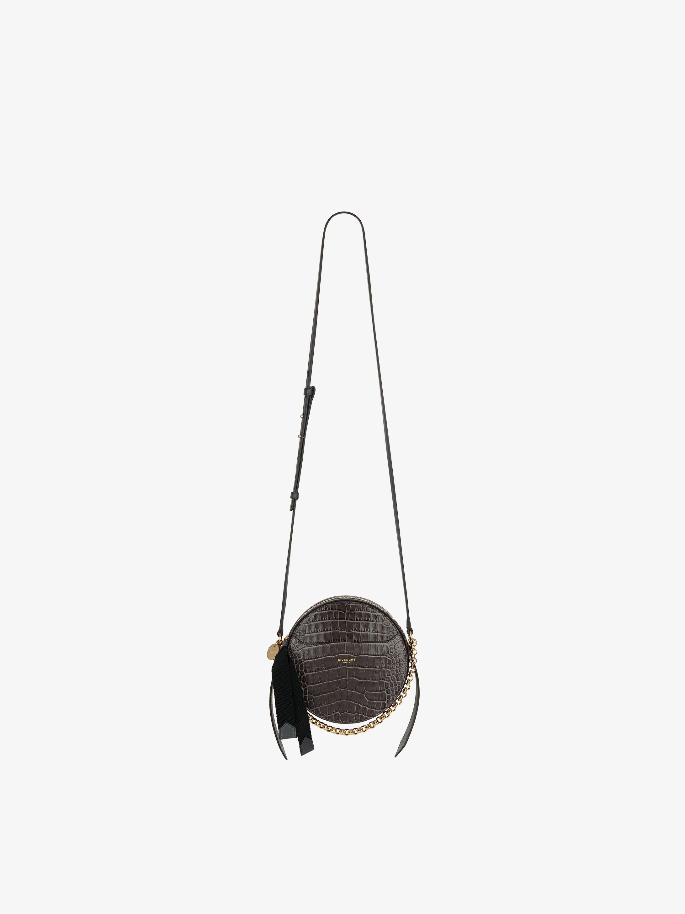Eden round bag in crocodile effect leather