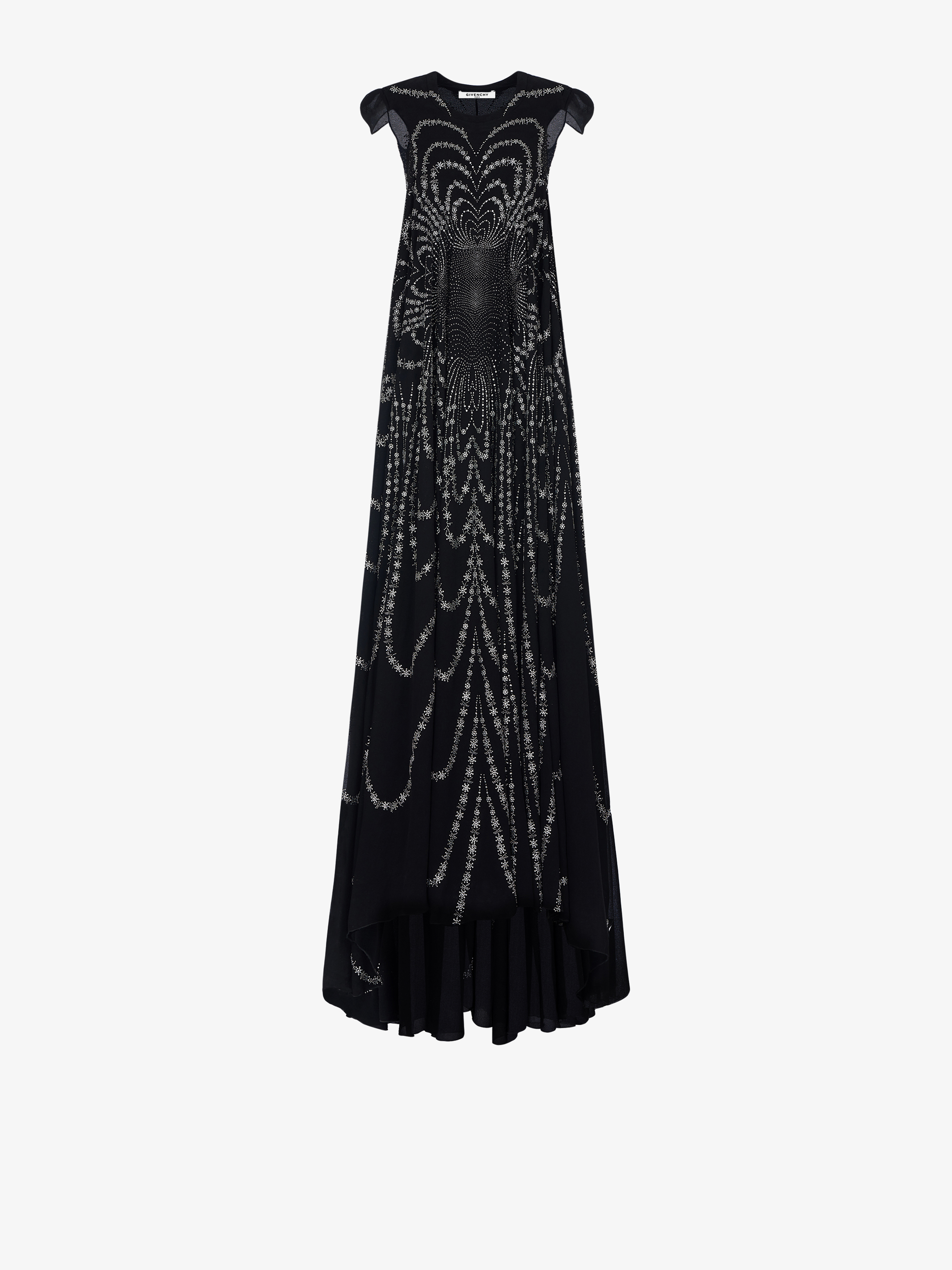 Crystals and sequins embroidered evening dress