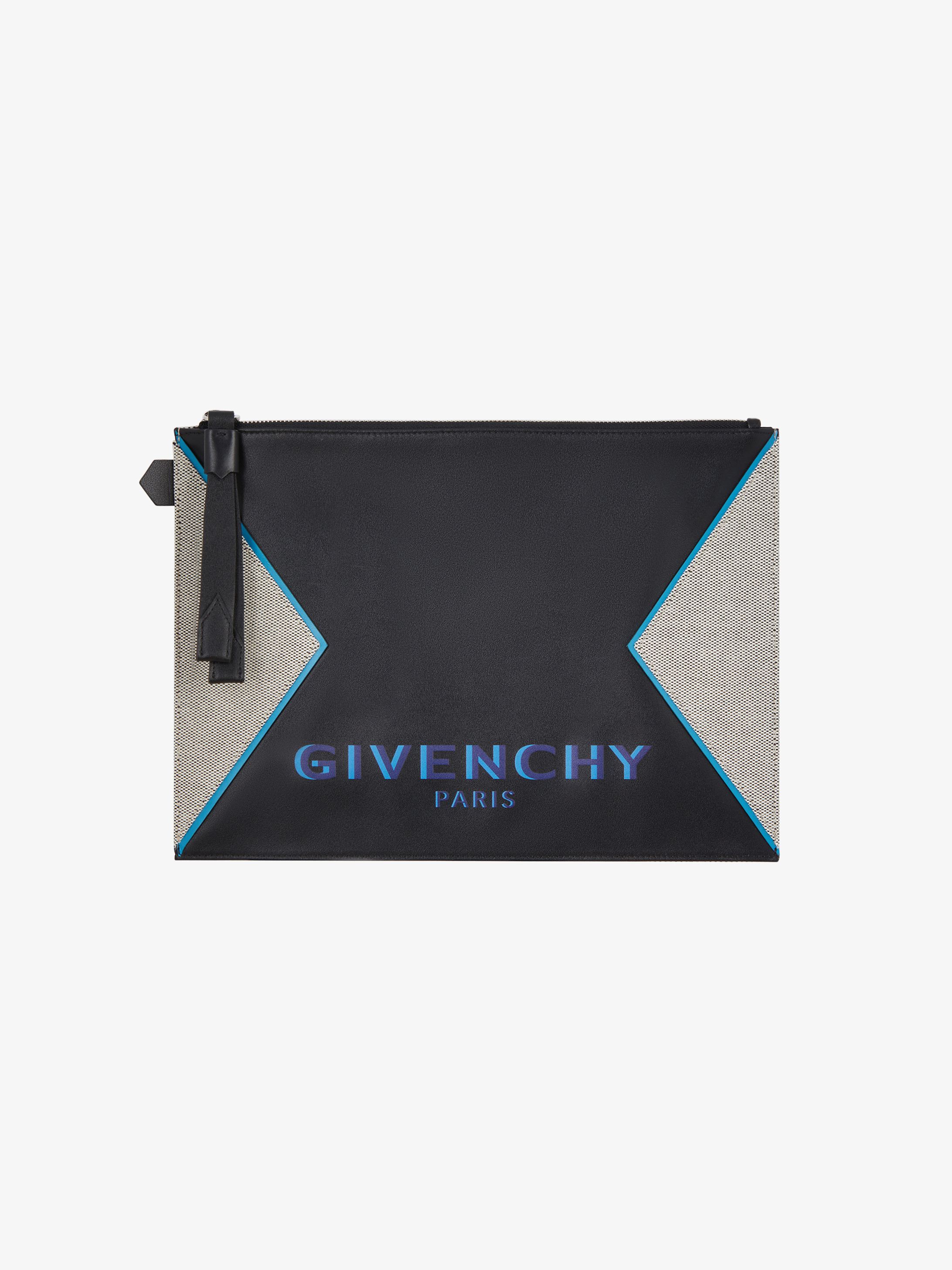 GIVENCHY PARIS large pouch in leather and canvas
