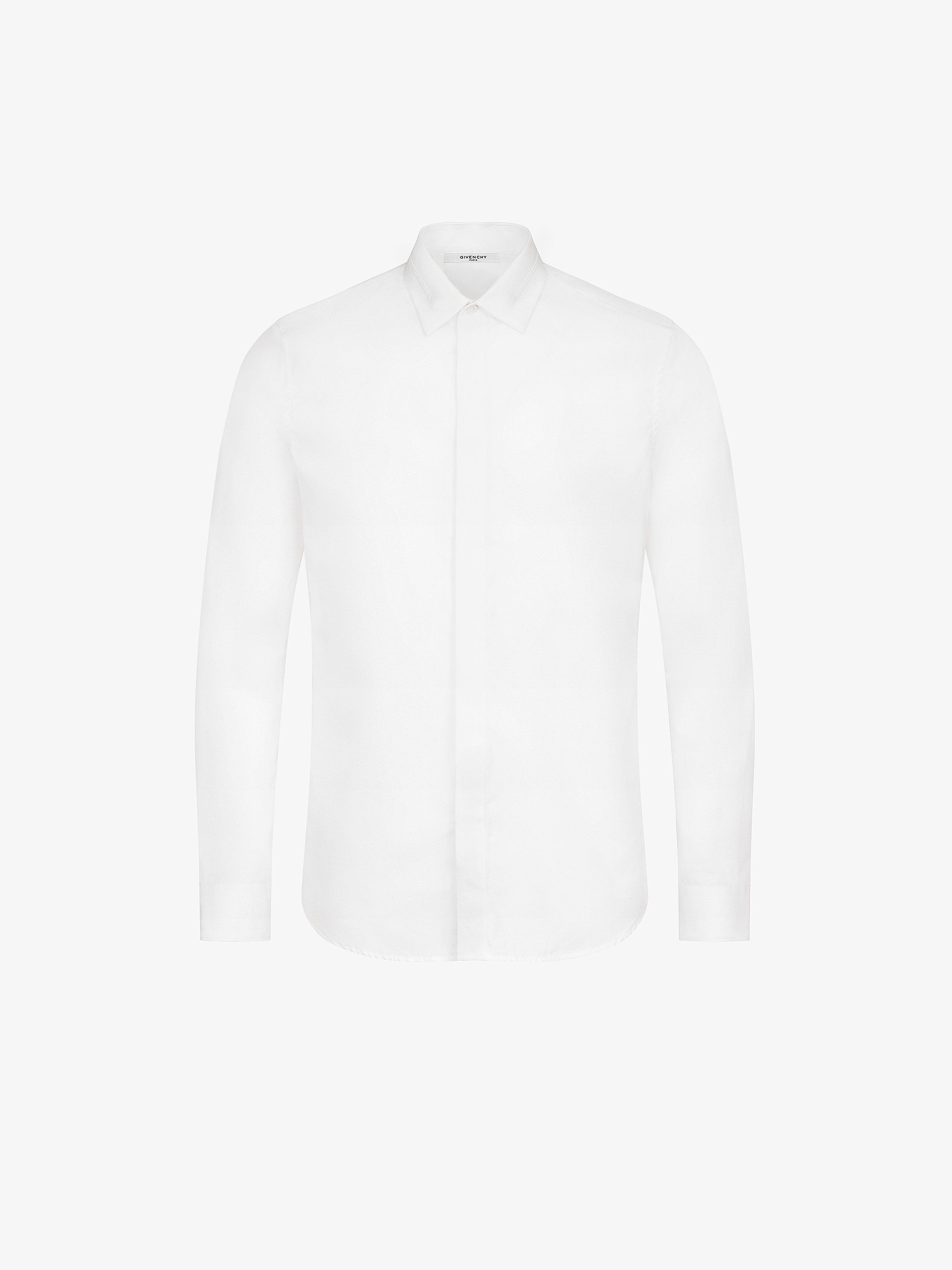 Embroidered collar slim fit shirt