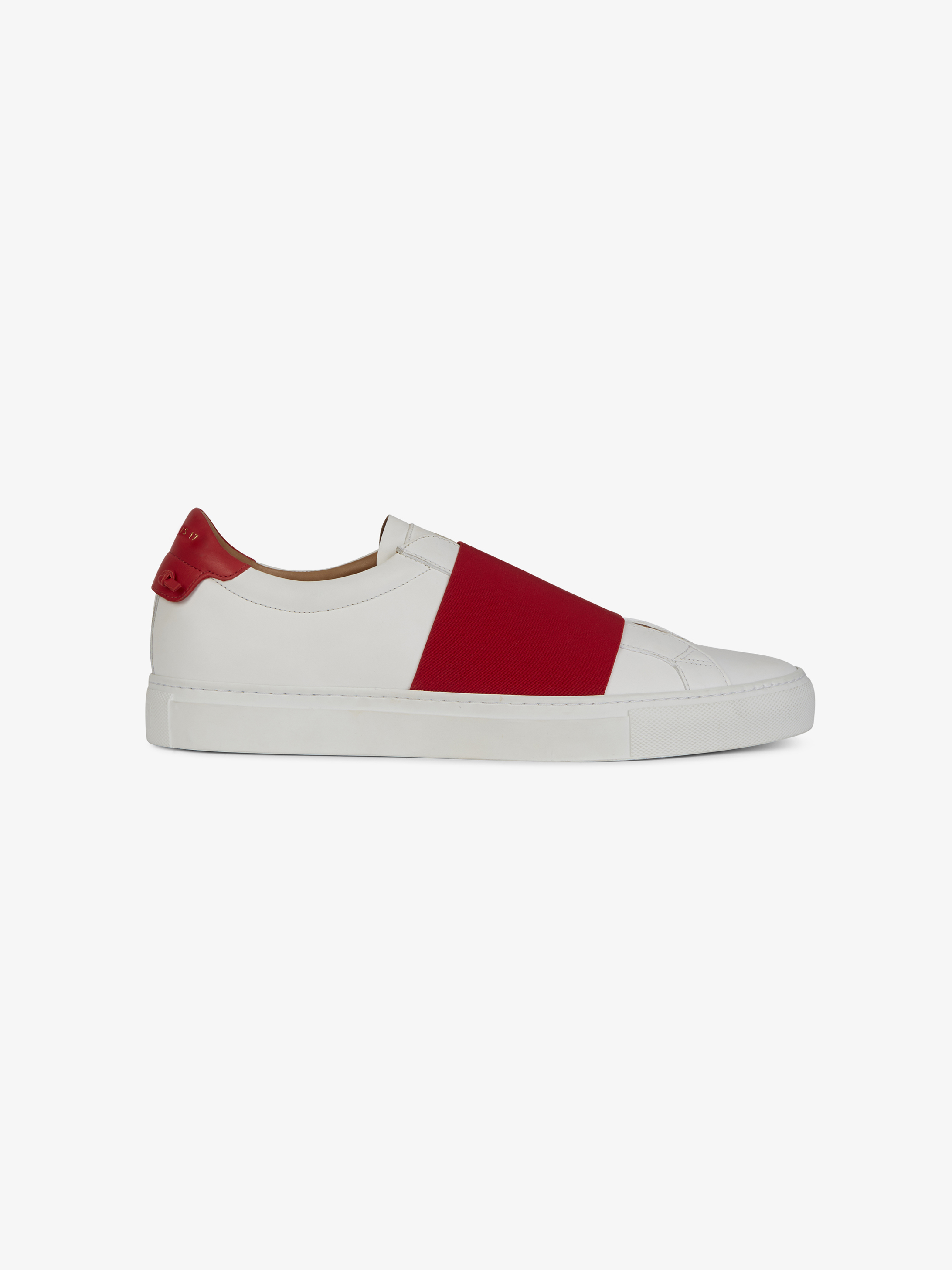 Elastic strap sneakers in leather
